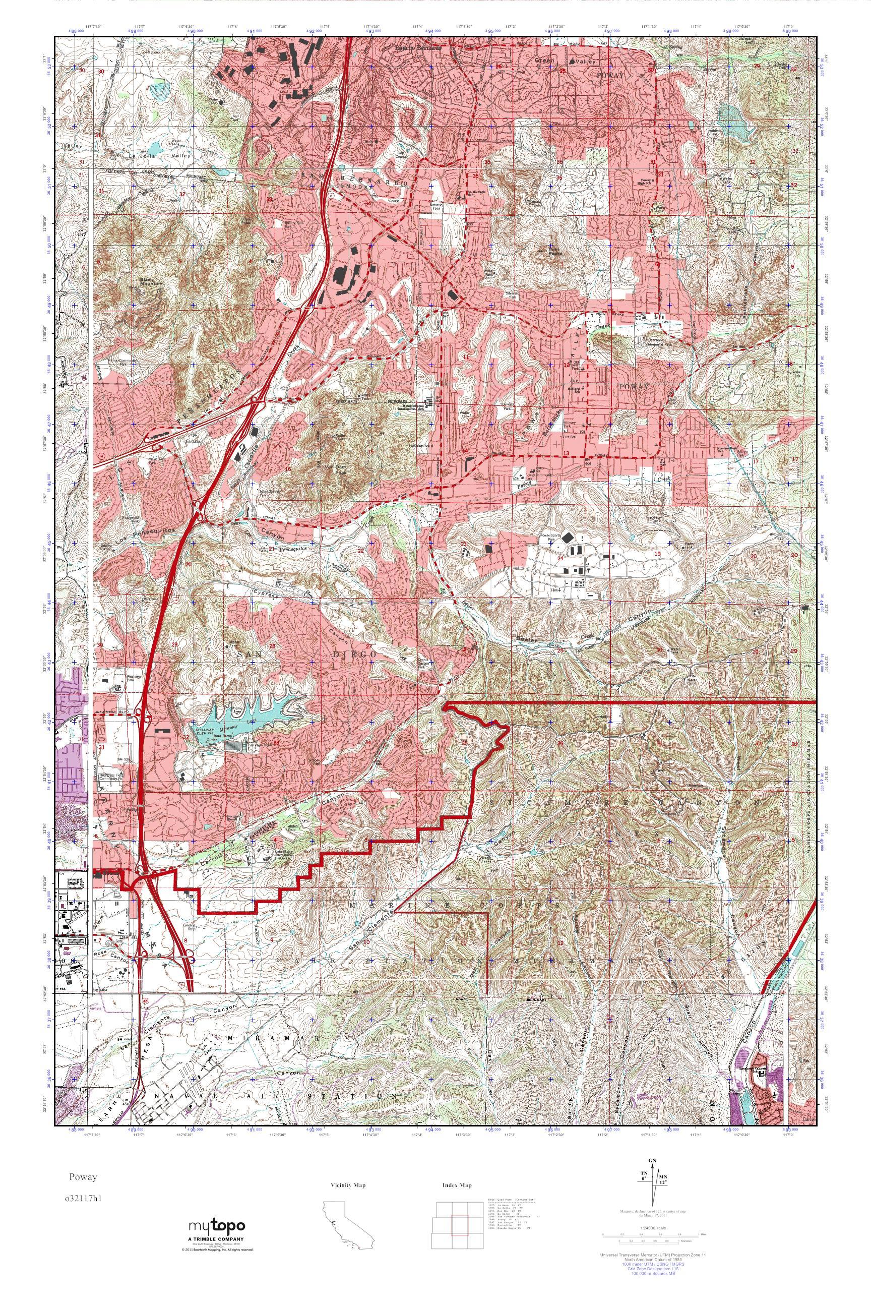 Poway California Map.Mytopo Poway California Usgs Quad Topo Map