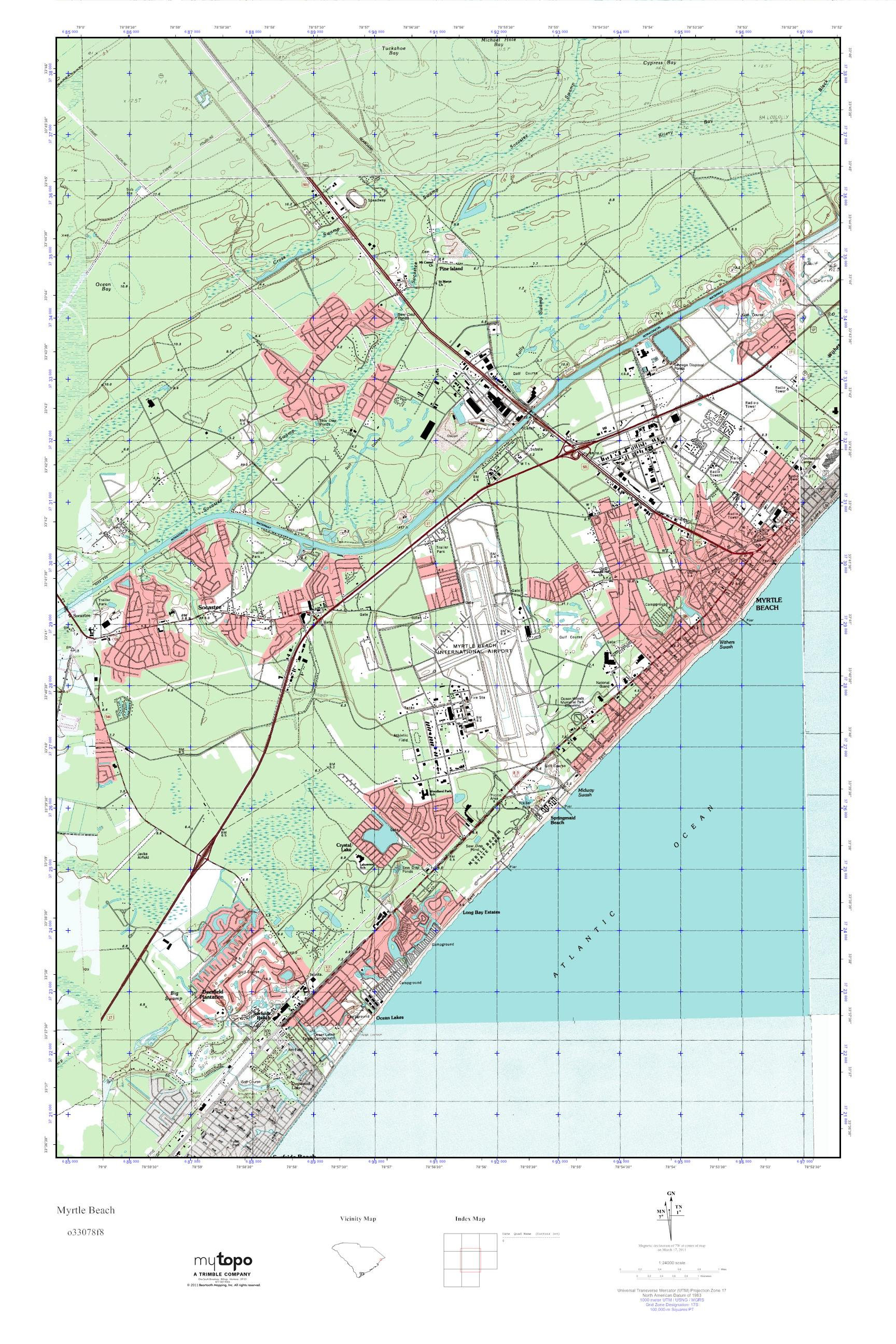 MyTopo Myrtle Beach South Carolina USGS Quad Topo Map