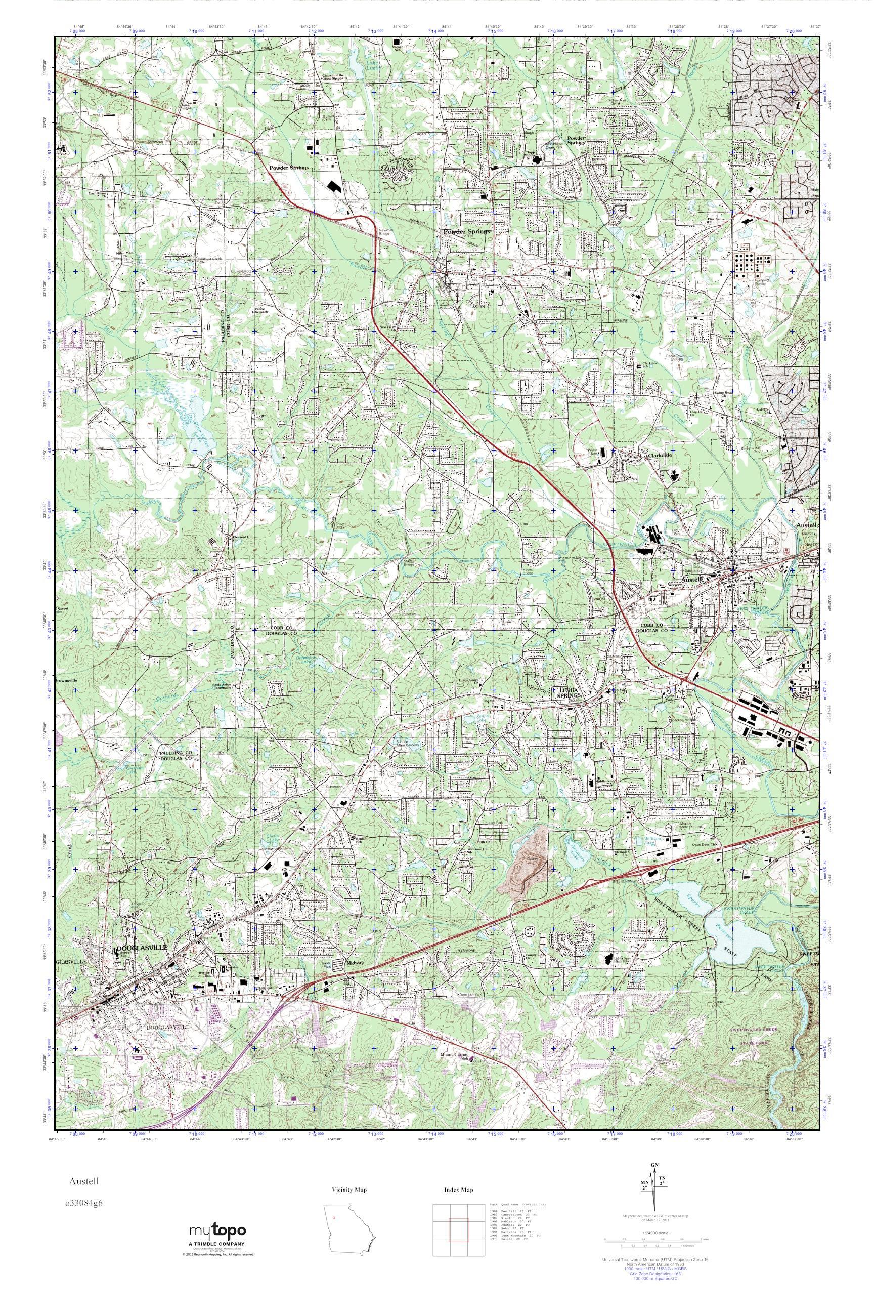 Mytopo Austell Georgia Usgs Quad Topo Map