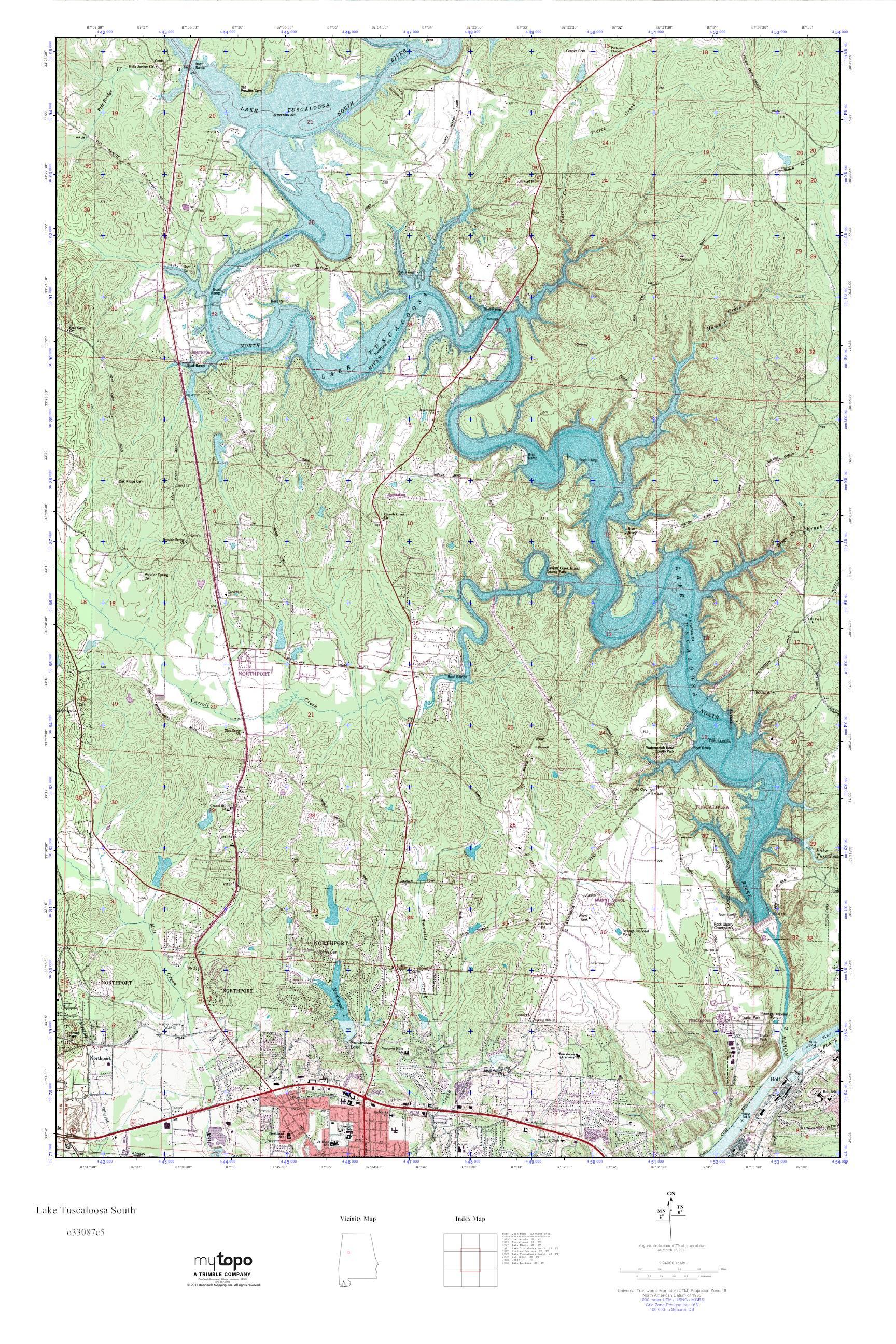 MyTopo Lake Tuscaloosa South Alabama USGS Quad Topo Map