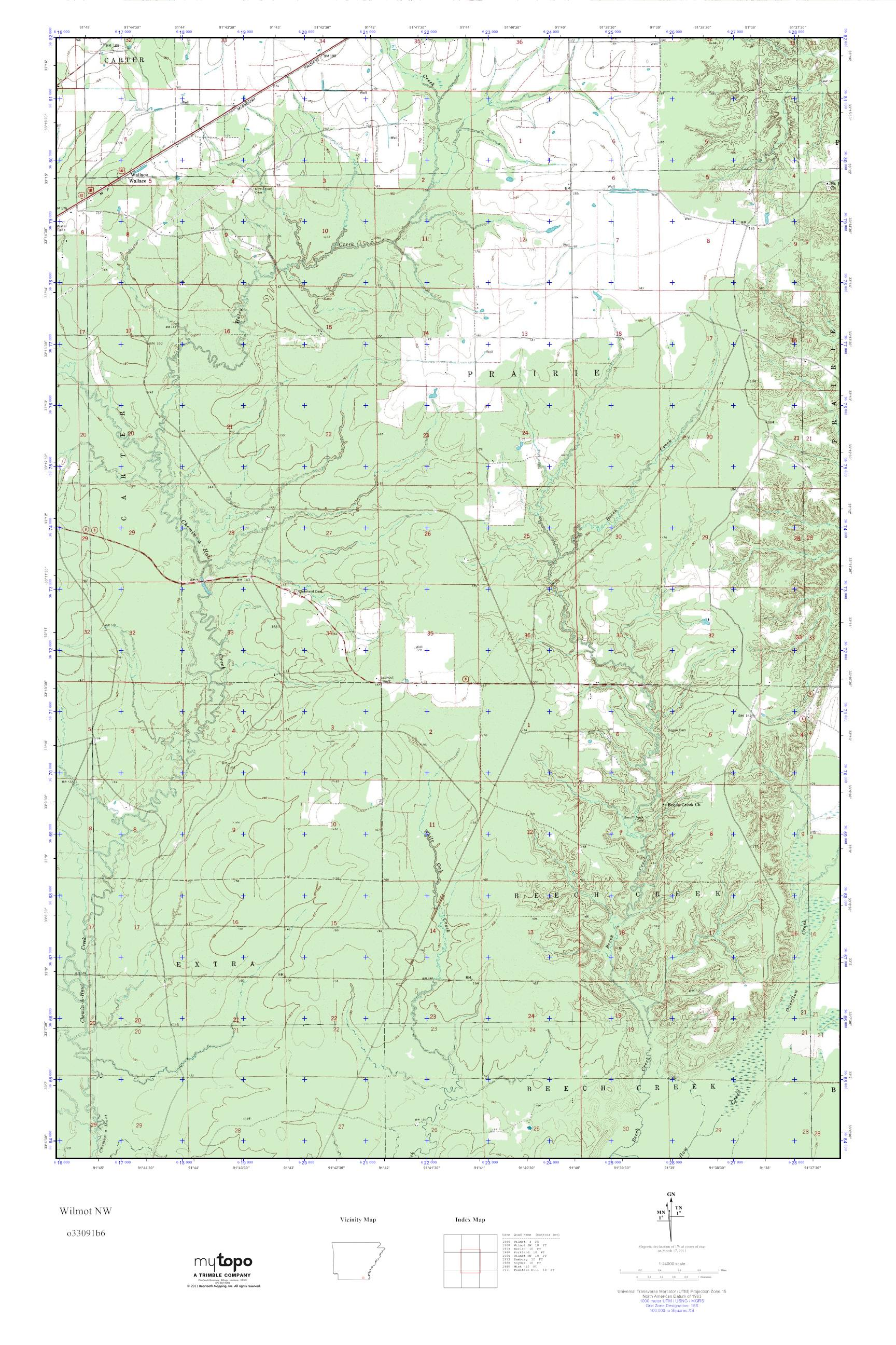 MyTopo Wilmot NW, Arkansas USGS Quad Topo Map