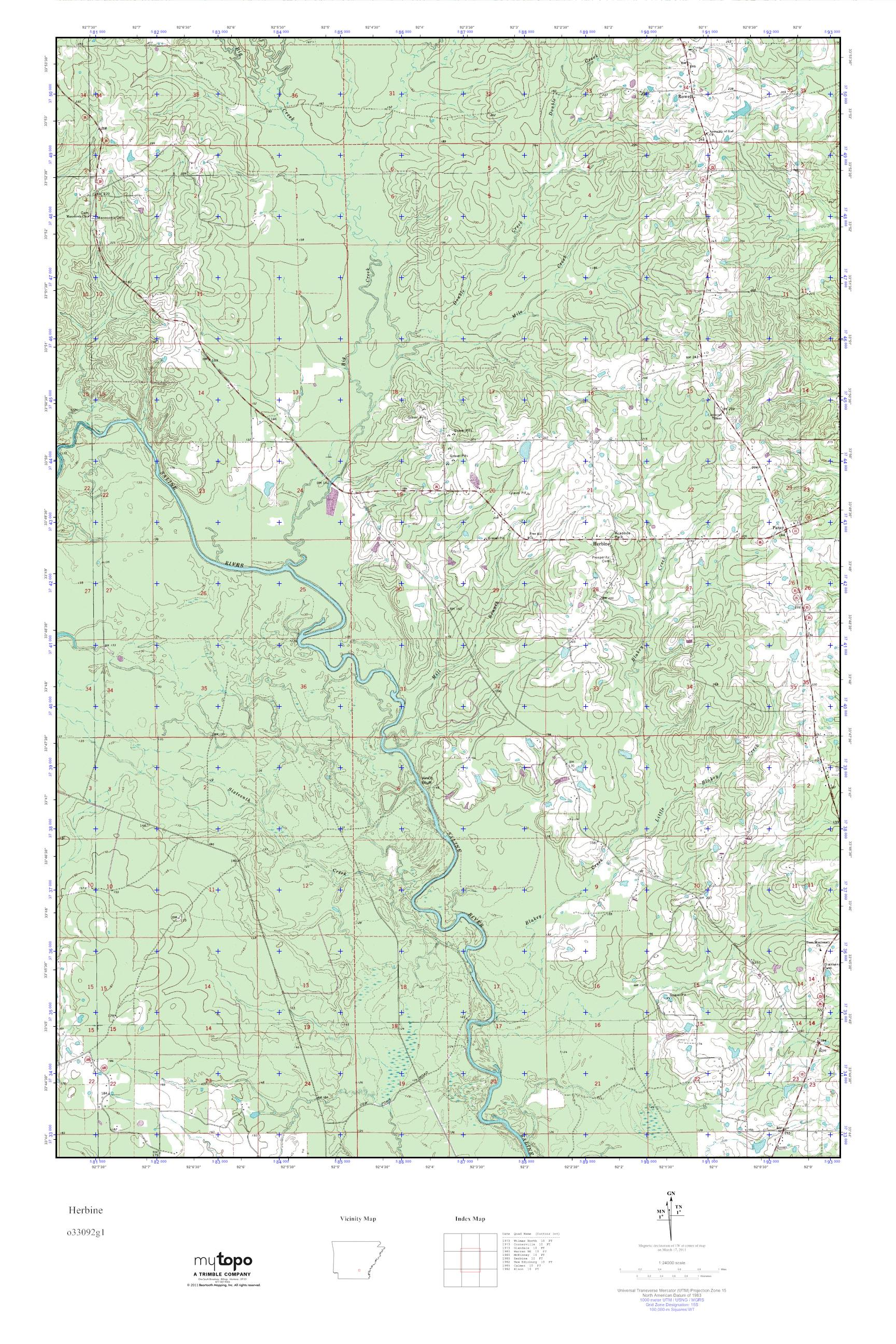 MyTopo Herbine, Arkansas USGS Quad Topo Map