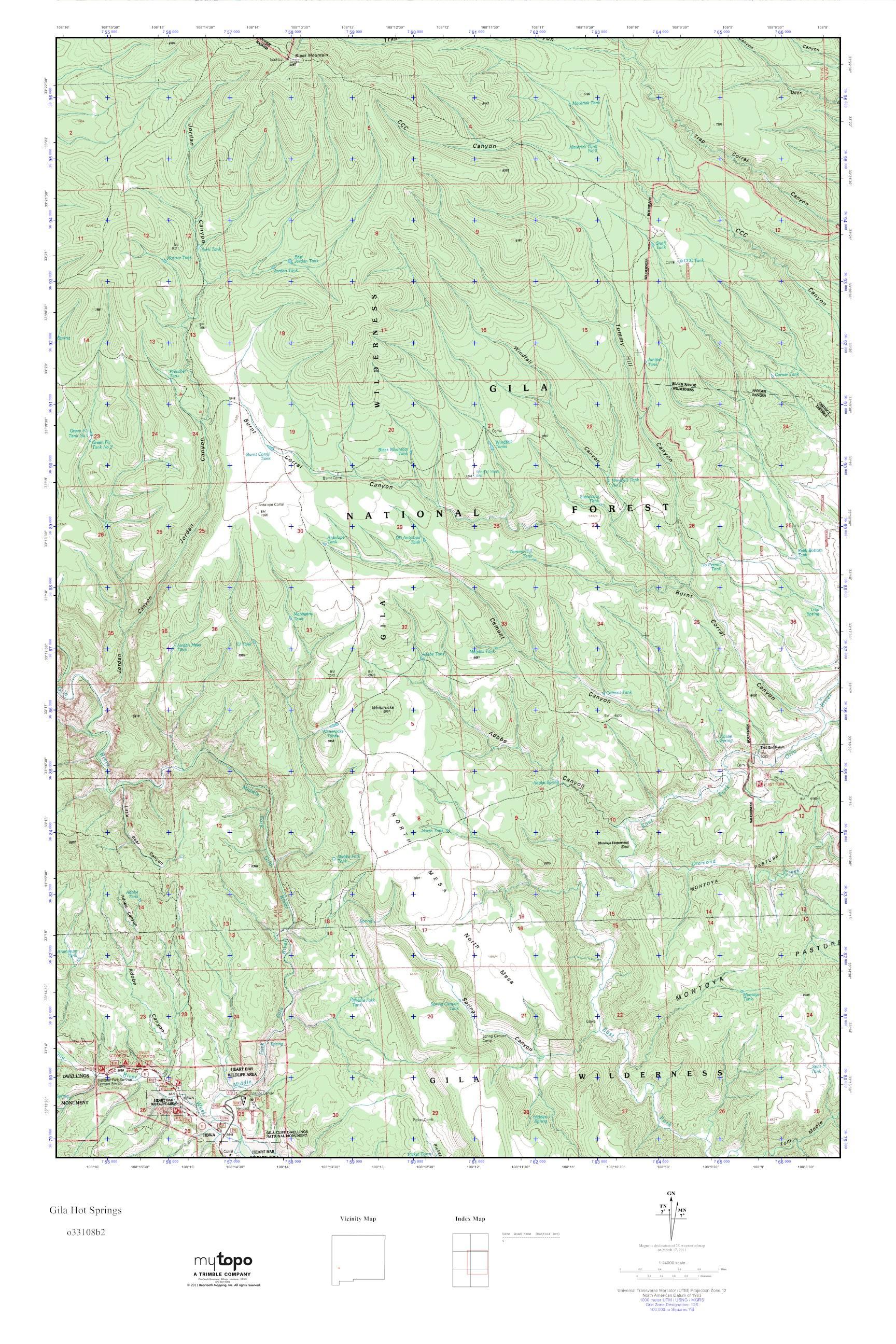 MyTopo Gila Hot Springs, New Mexico USGS Quad Topo Map