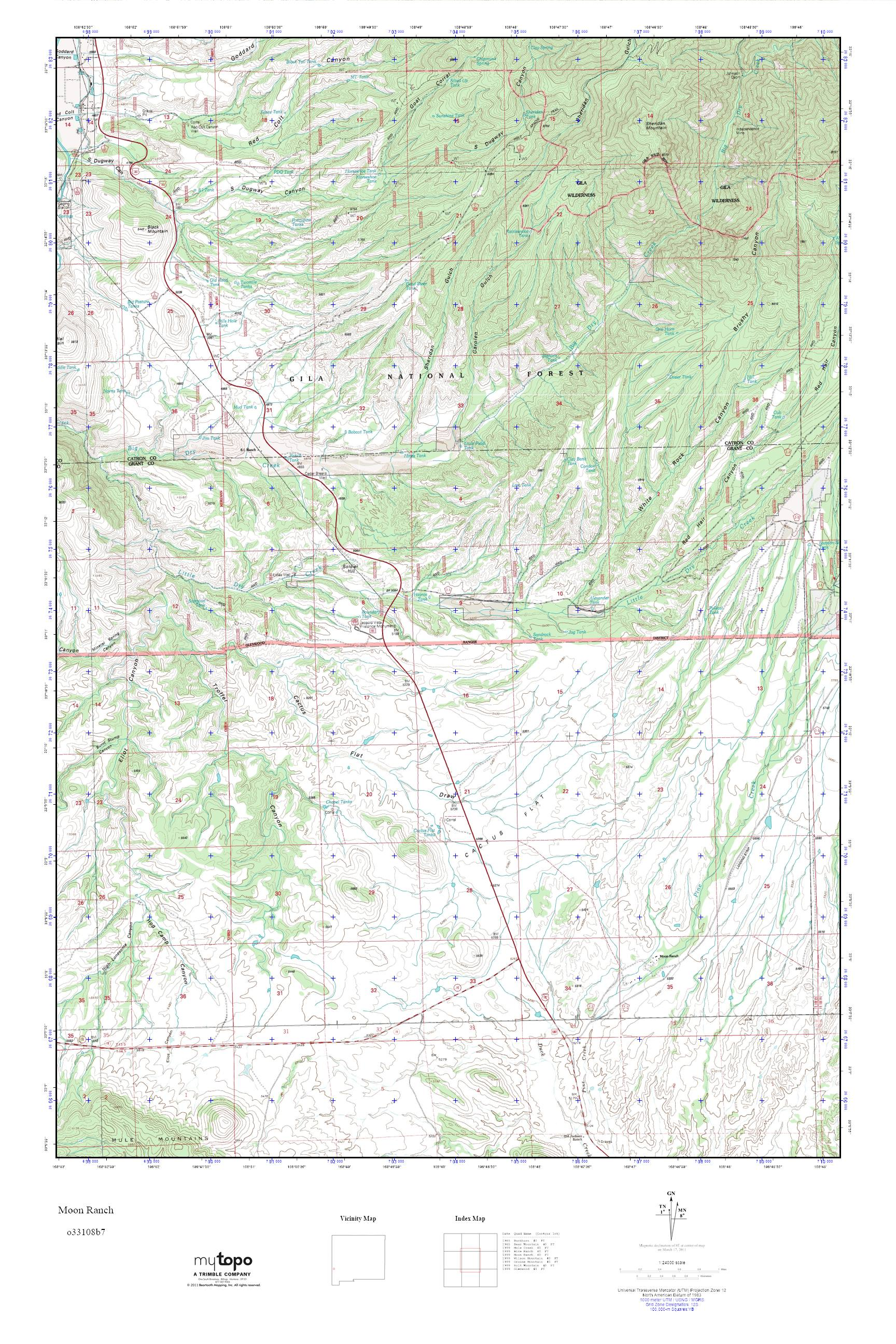 MyTopo Moon Ranch New Mexico USGS Quad Topo Map