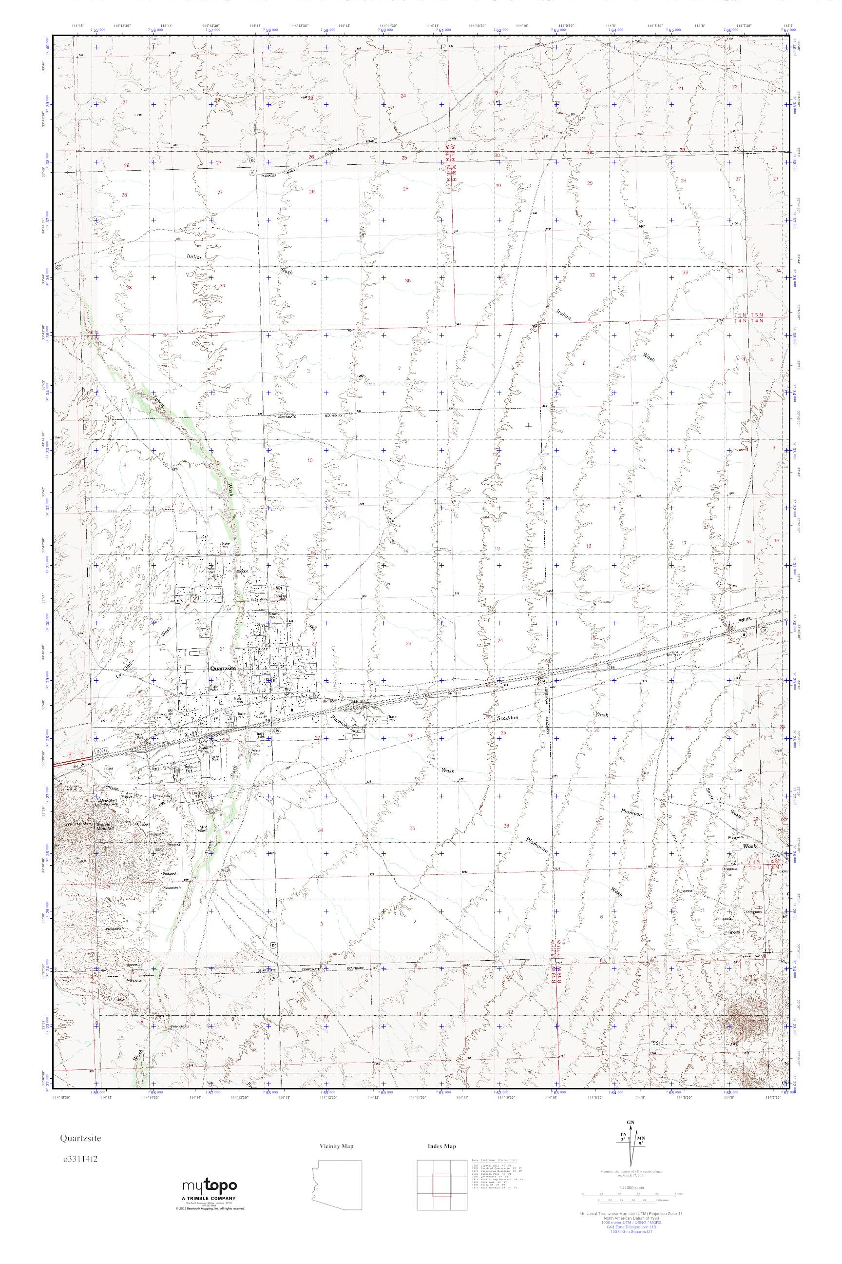 MyTopo Quartzsite, Arizona USGS Quad Topo Map on