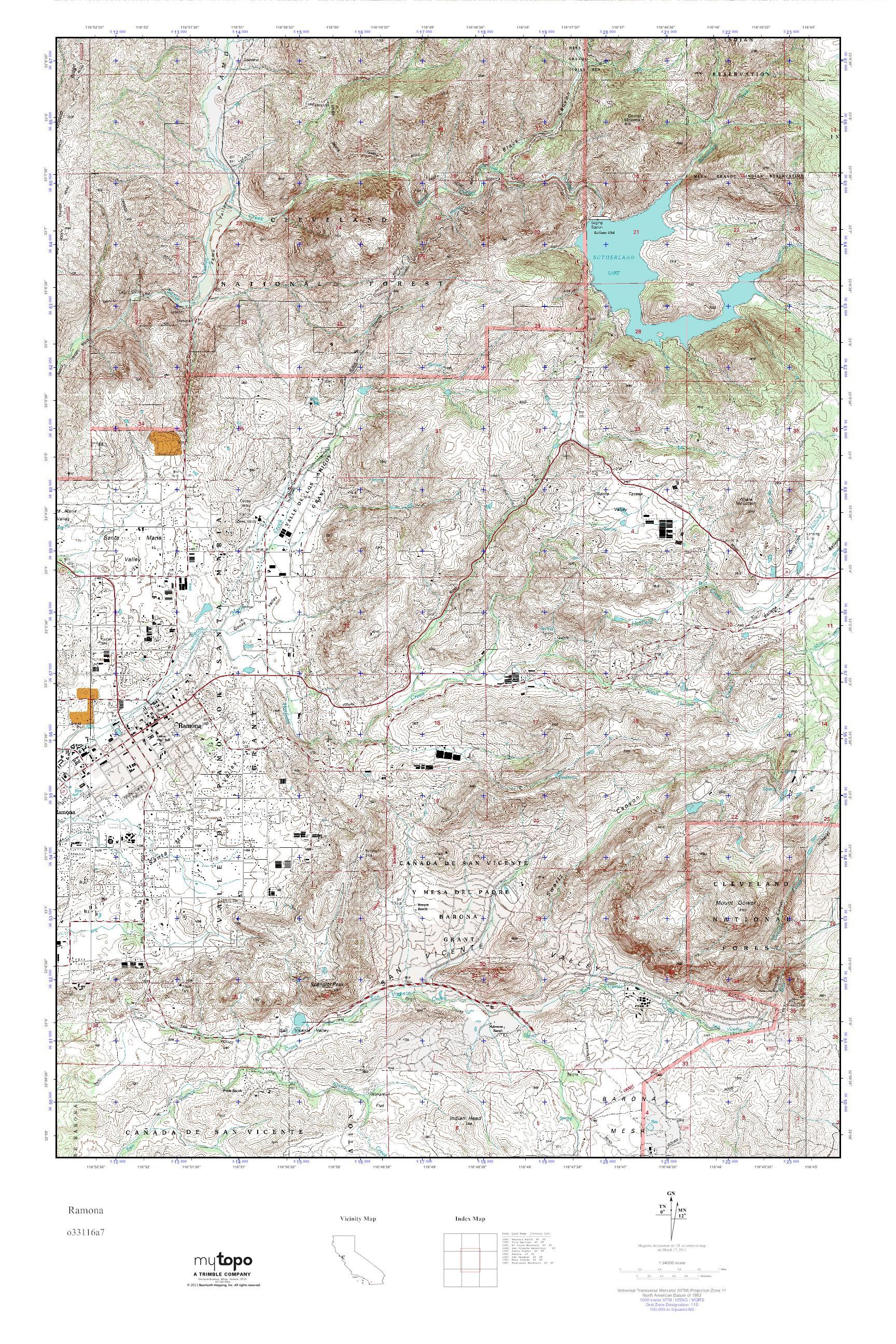 MyTopo Ramona California USGS Quad Topo Map - California map ramona