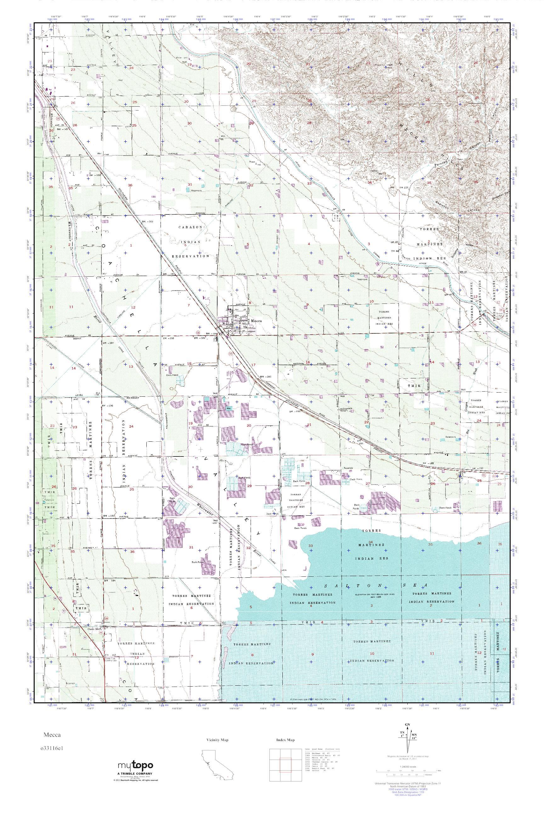Mytopo Mecca California Usgs Quad Topo Map
