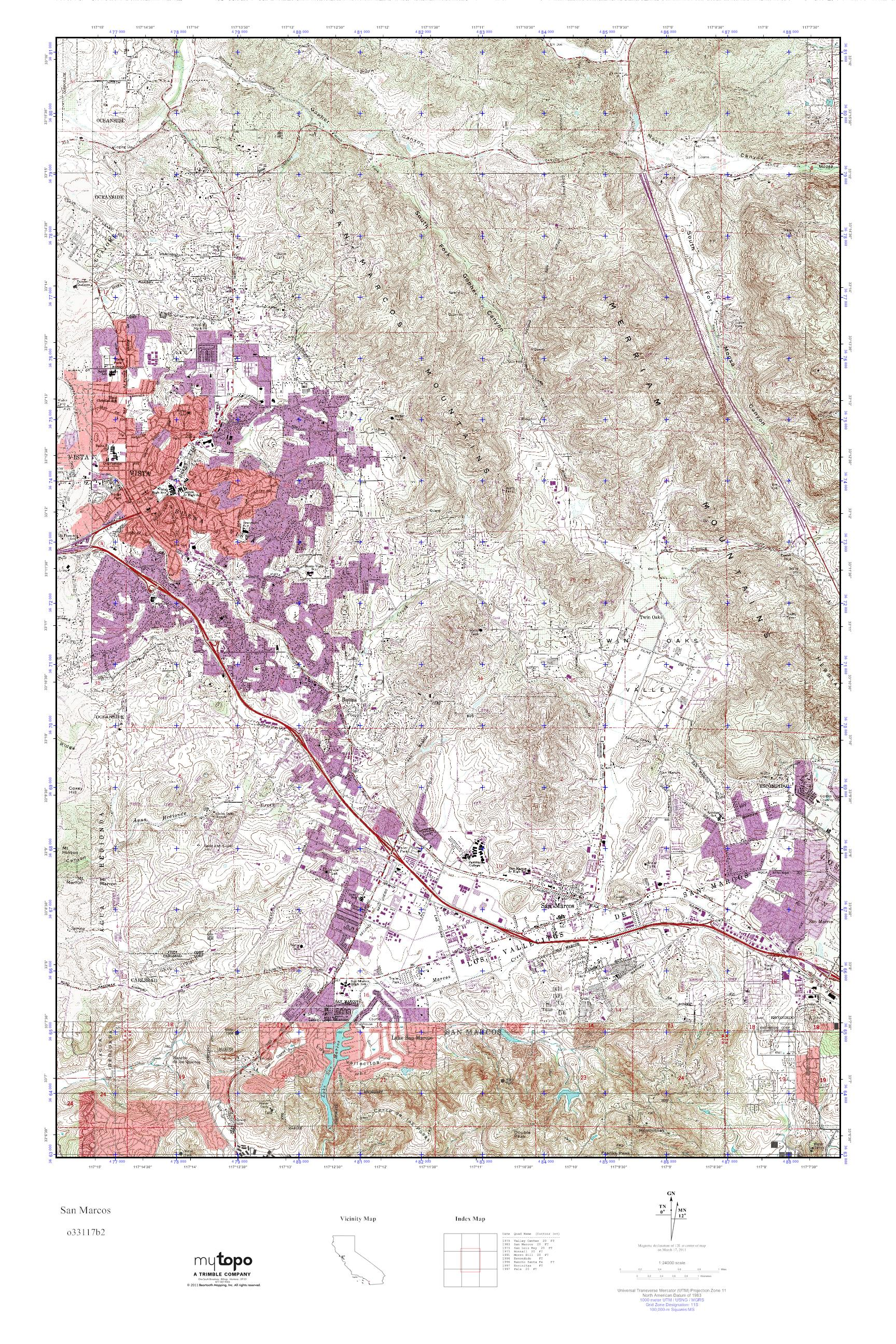 MyTopo San Marcos, California USGS Quad Topo Map