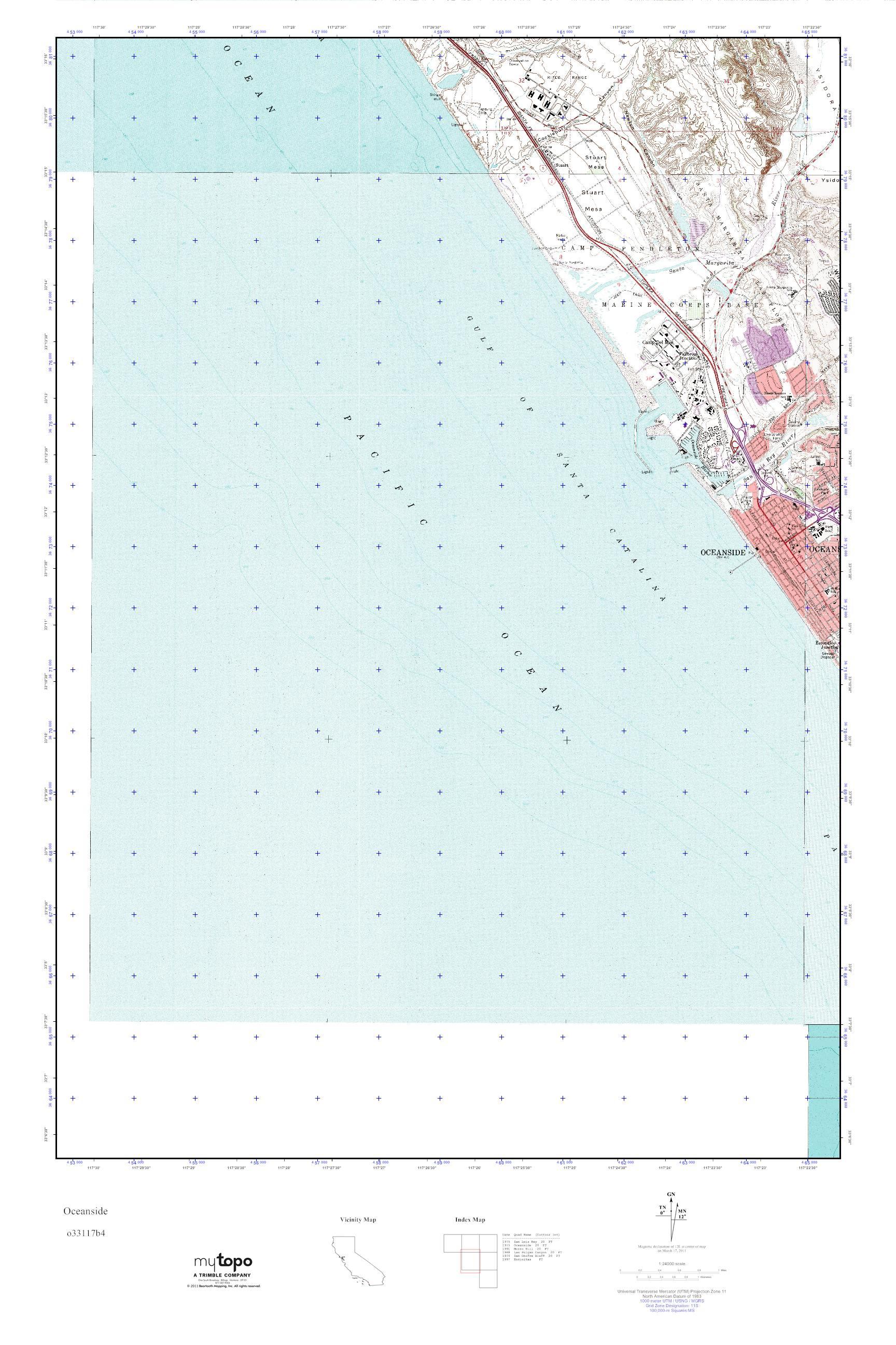 MyTopo Oceanside California USGS Quad Topo Map