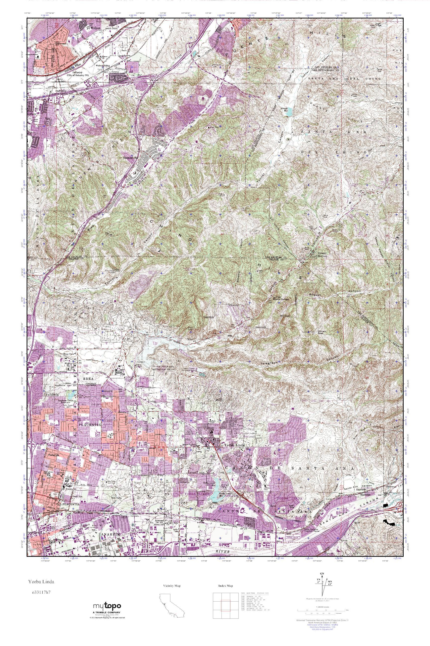 Where Is Yorba Linda California Map.Mytopo Yorba Linda California Usgs Quad Topo Map