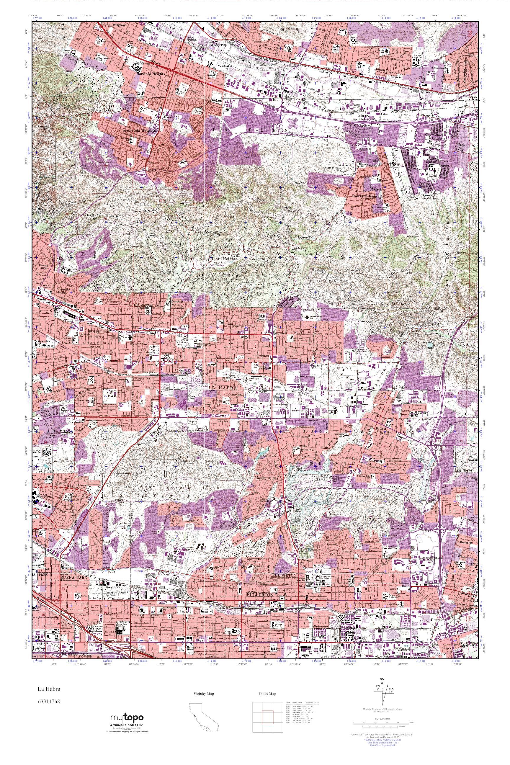 Mytopo La Habra California Usgs Quad Topo Map