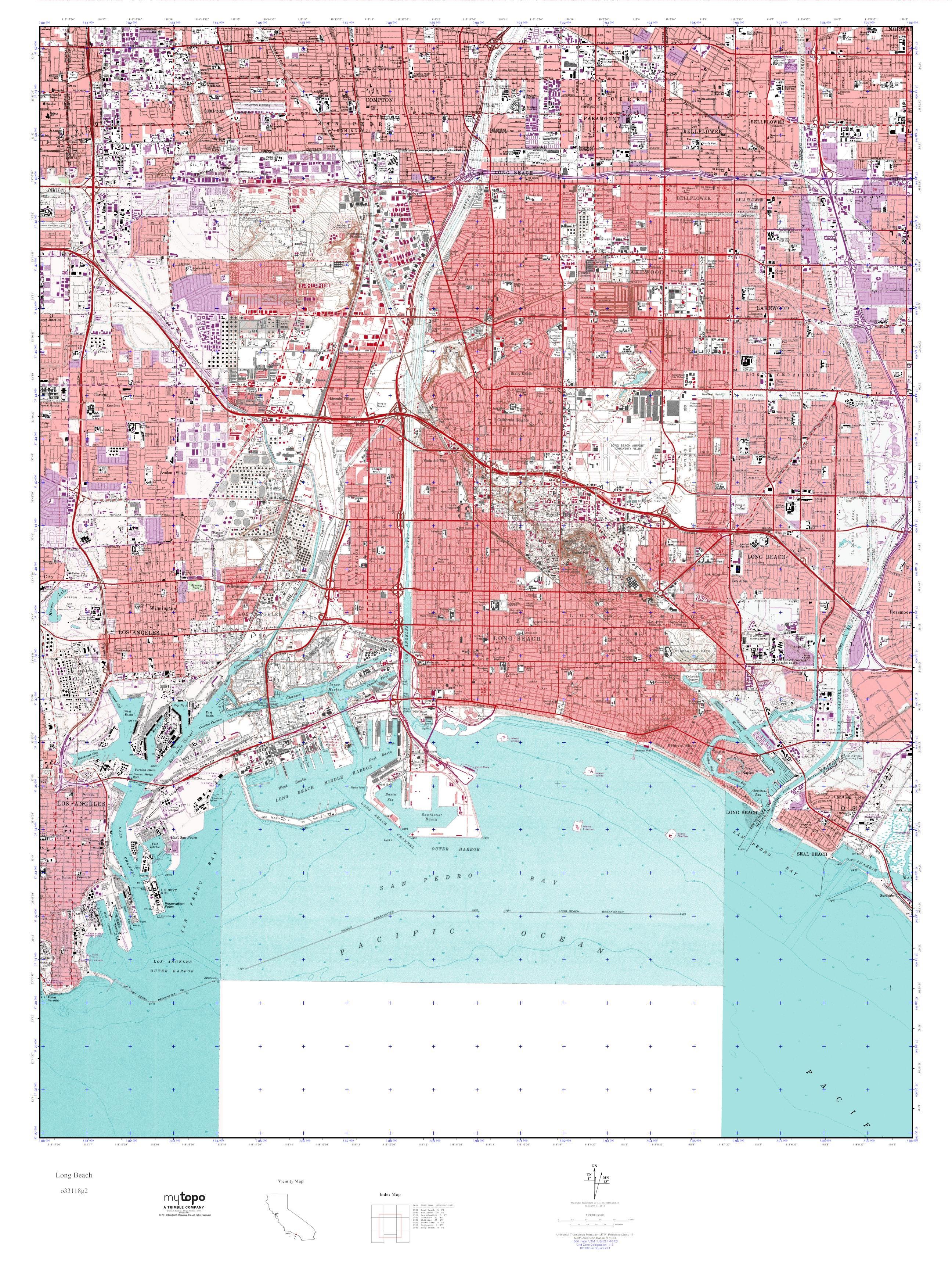 MyTopo Long Beach California USGS Quad Topo Map