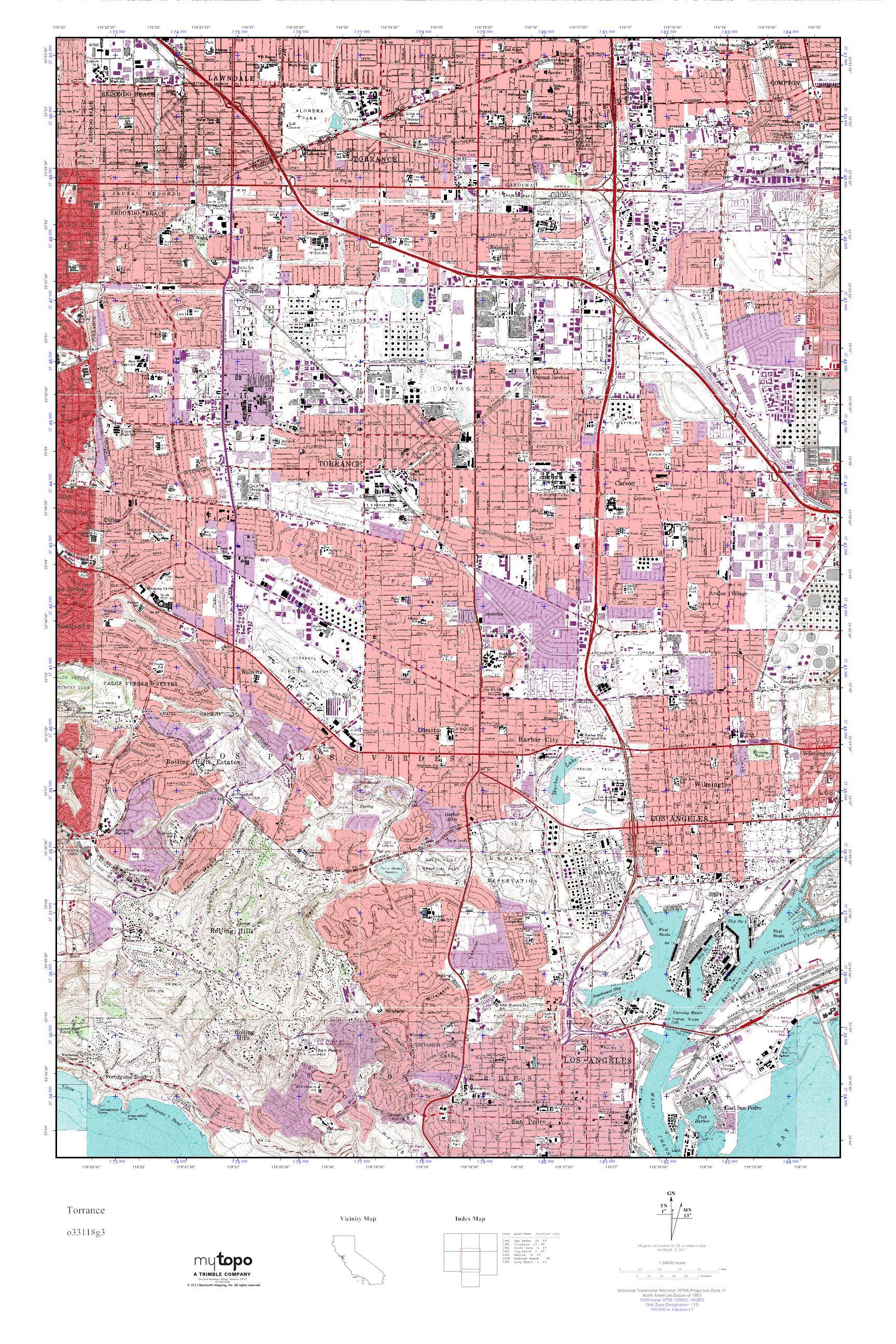 Mytopo Torrance California Usgs Quad Topo Map
