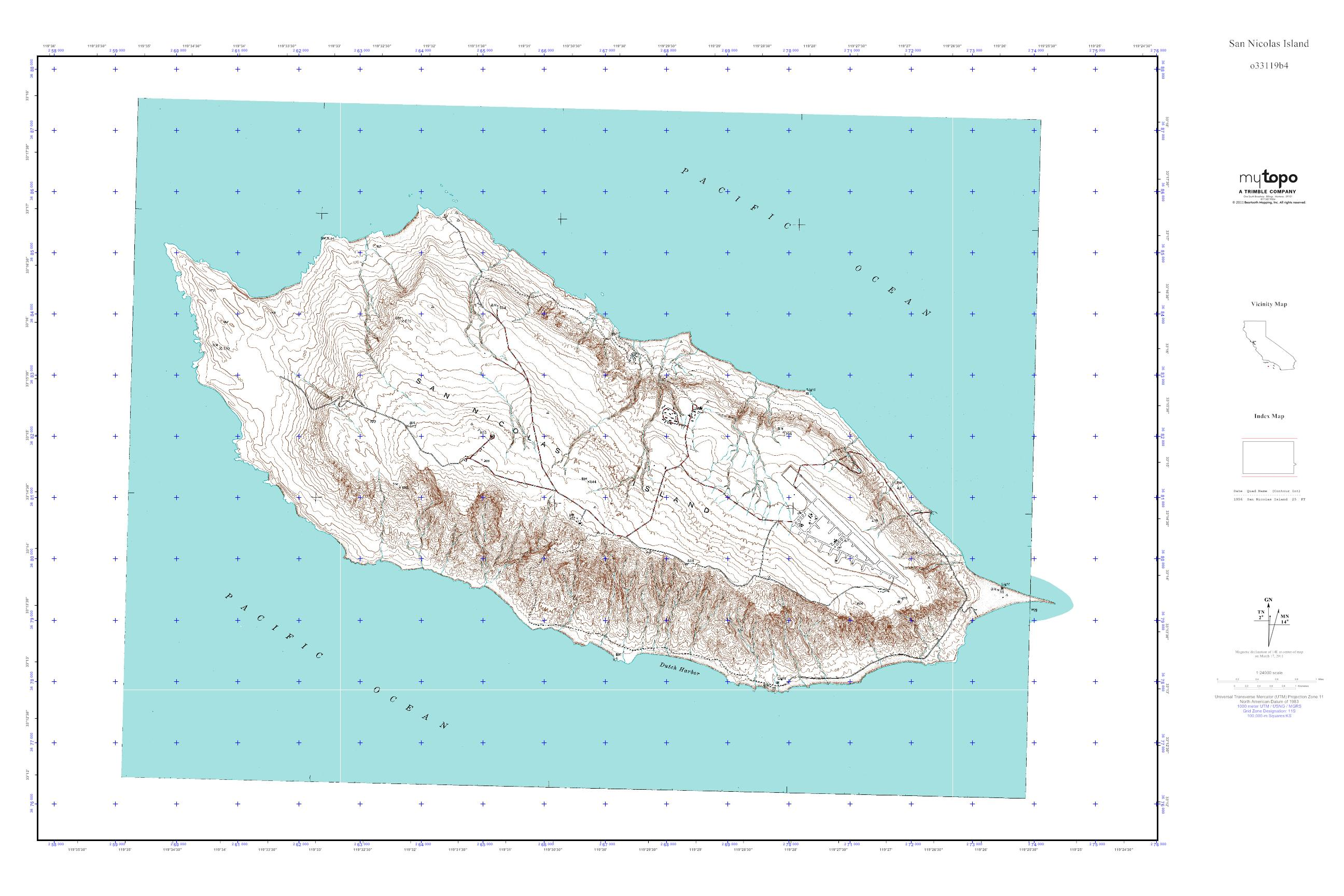 MyTopo San Nicolas Island California USGS Quad Topo Map - Map of san nicolas island and us