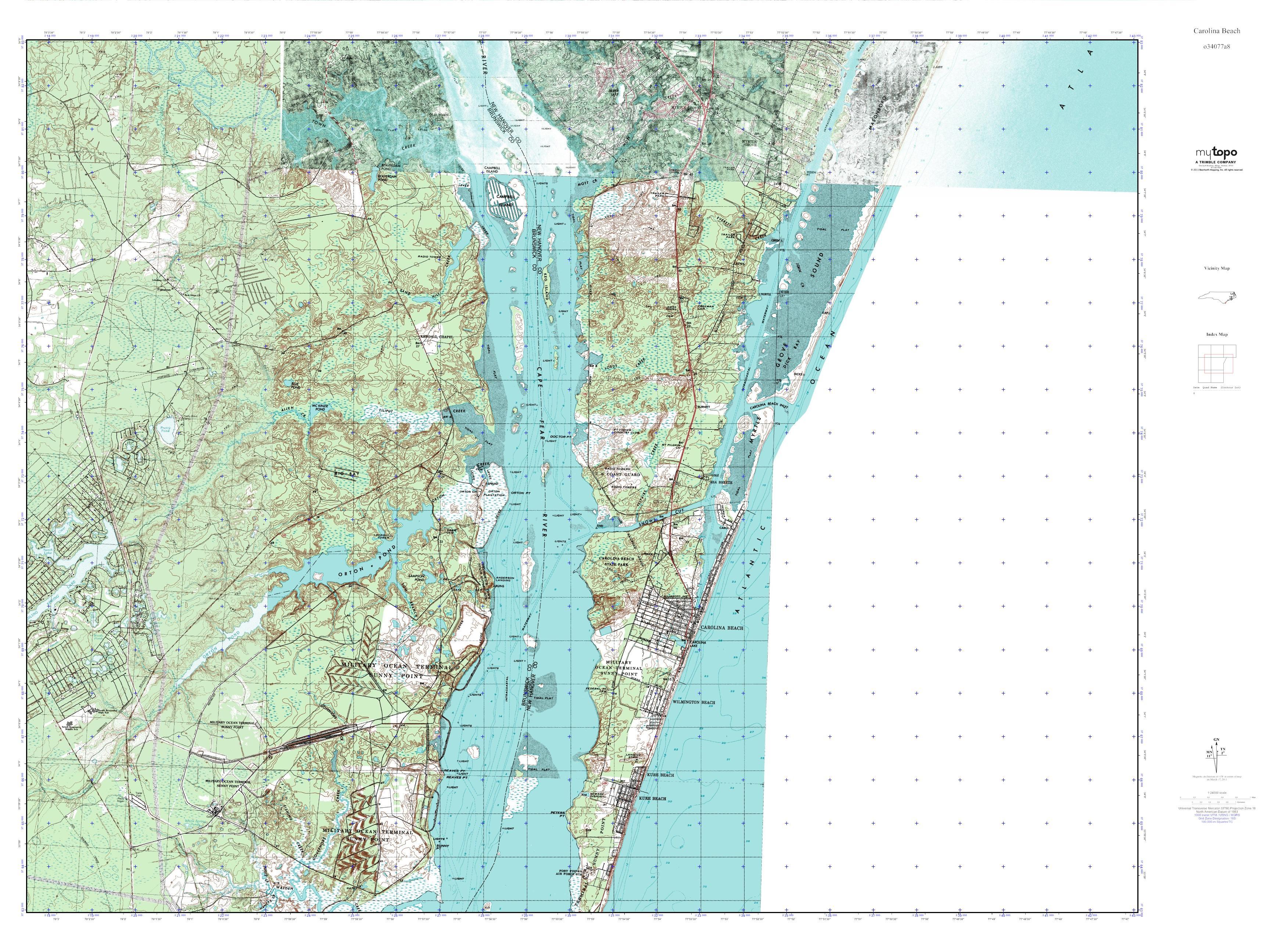 MyTopo Carolina Beach, North Carolina USGS Quad Topo Map on
