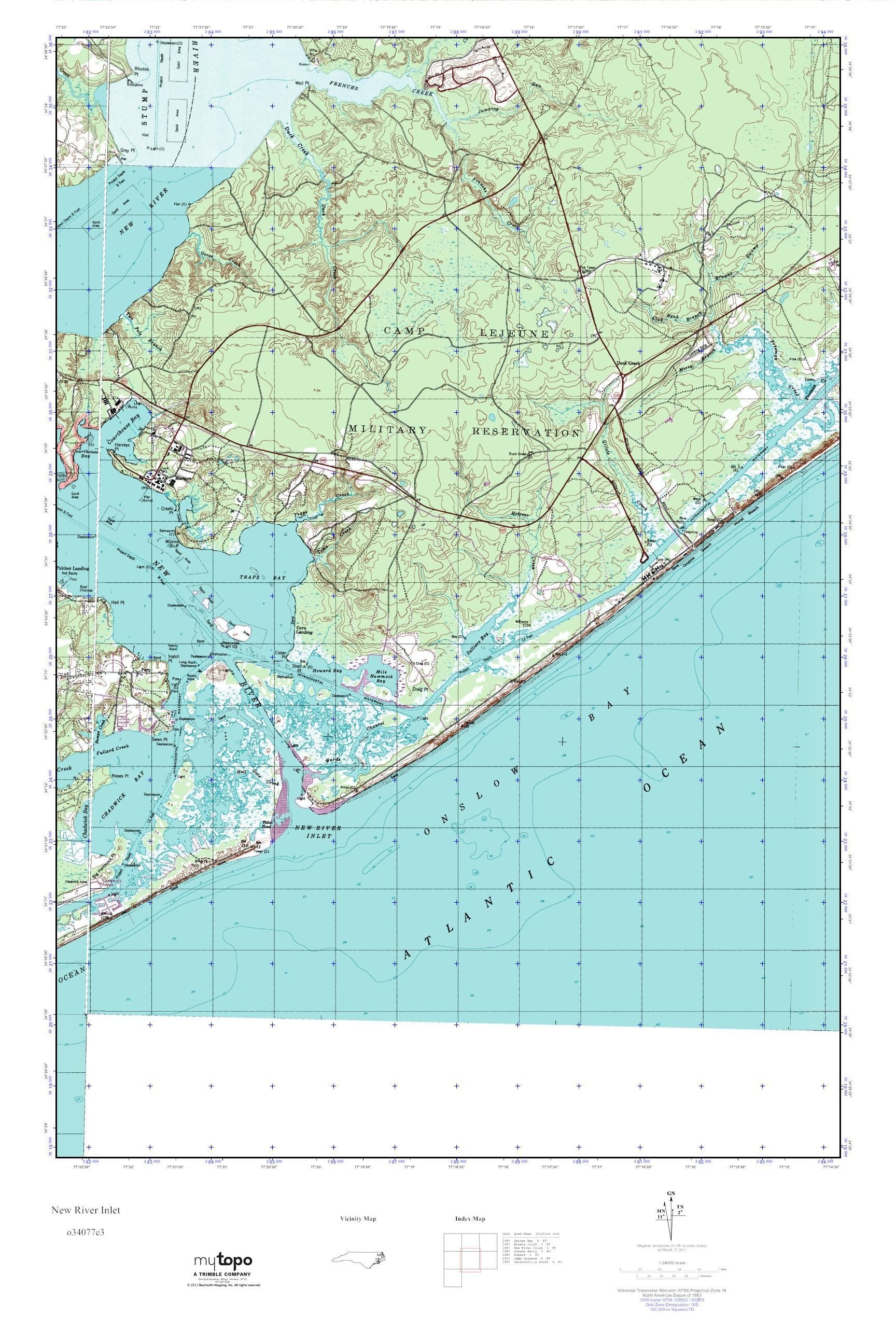 mytopo new river inlet north carolina usgs quad topo map -