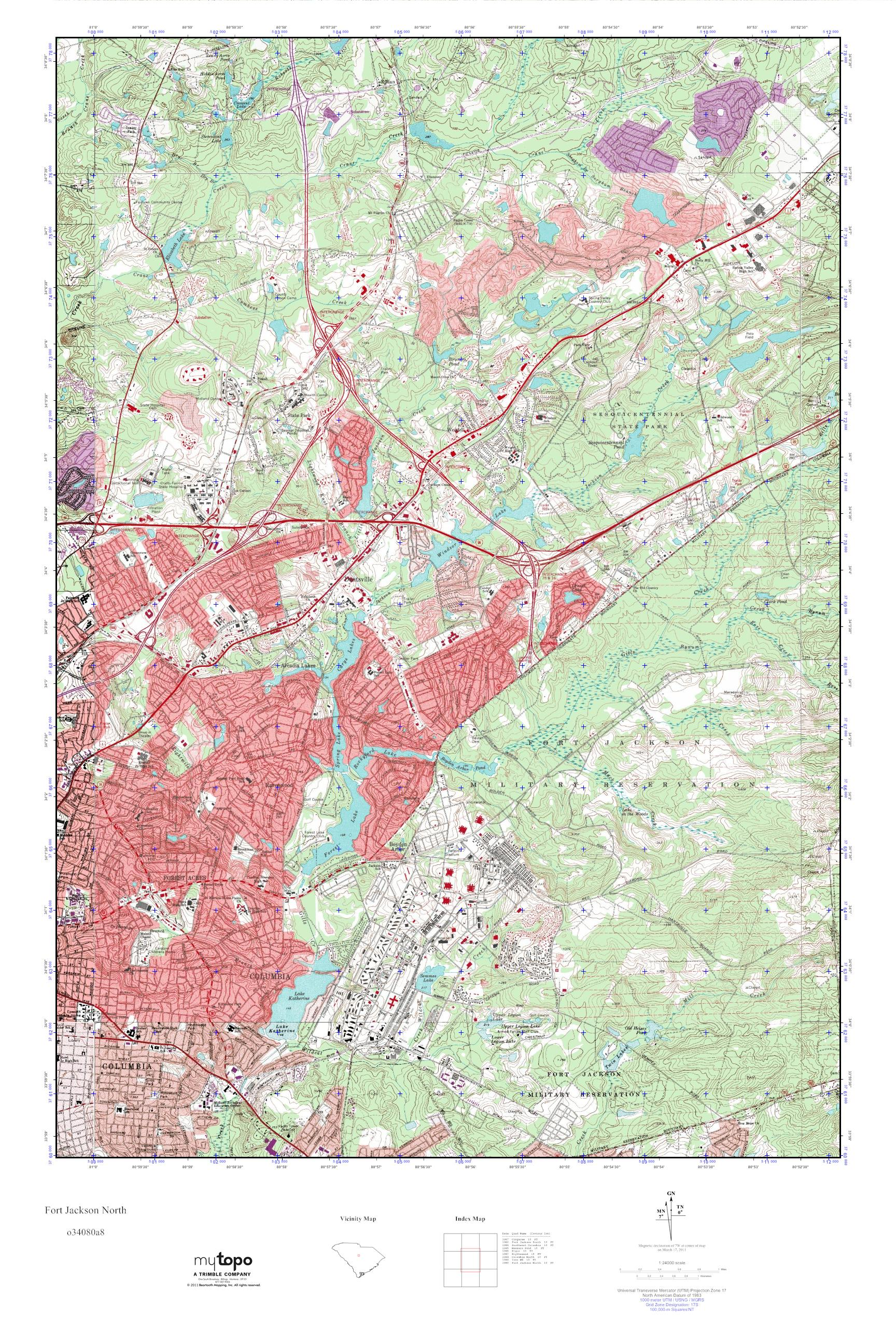 MyTopo Fort Jackson North South Carolina USGS Quad Topo Map