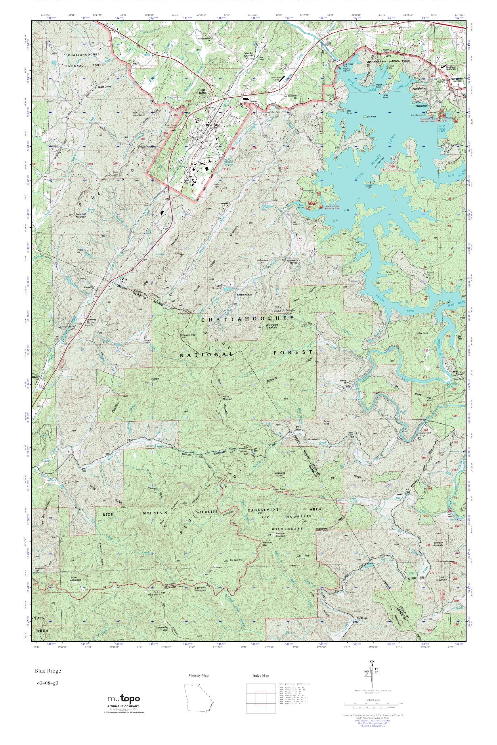 MyTopo Blue Ridge Georgia USGS Quad Topo Map - Georgia topographic map