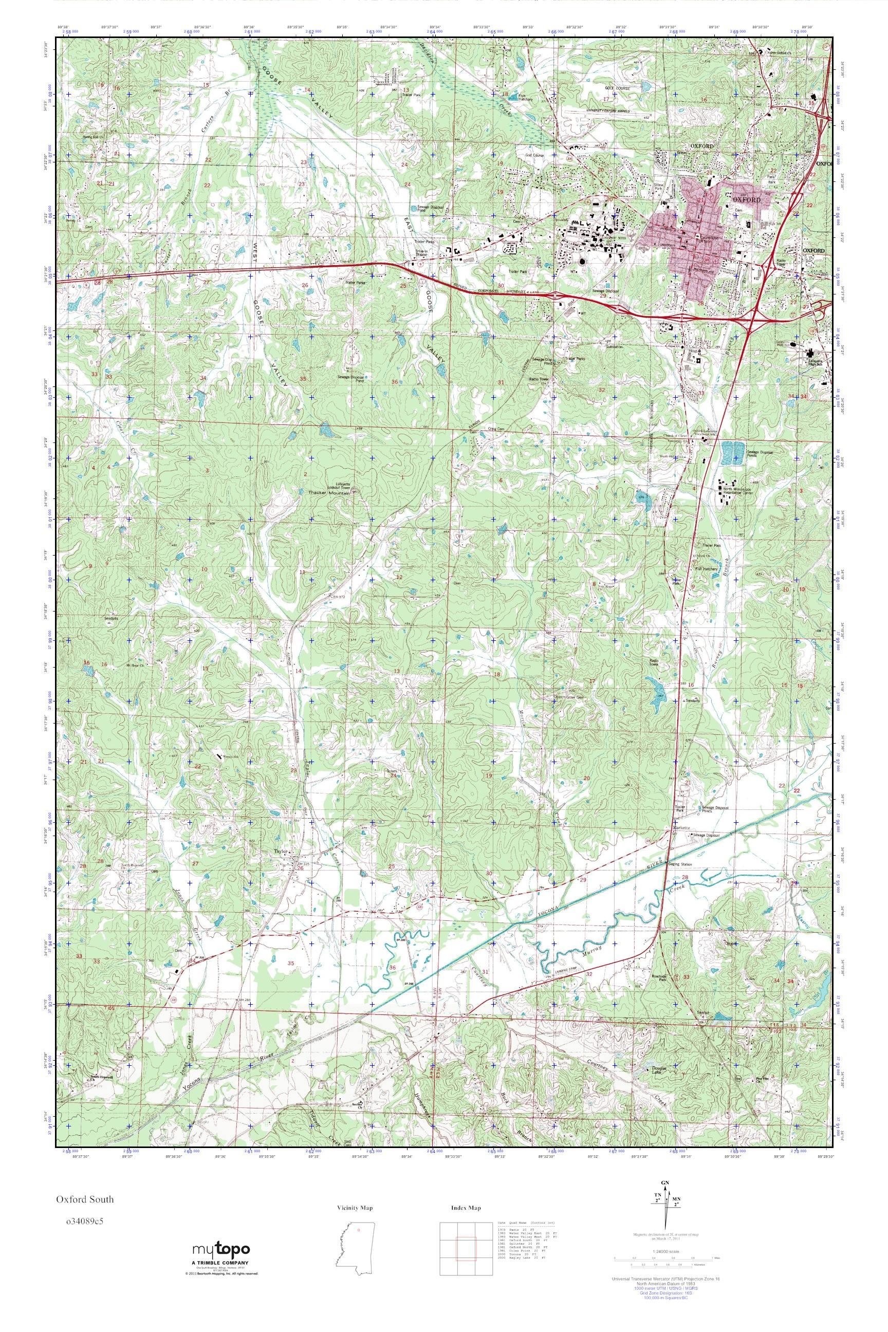 Topographic Map Mississippi.Mytopo Oxford South Mississippi Usgs Quad Topo Map