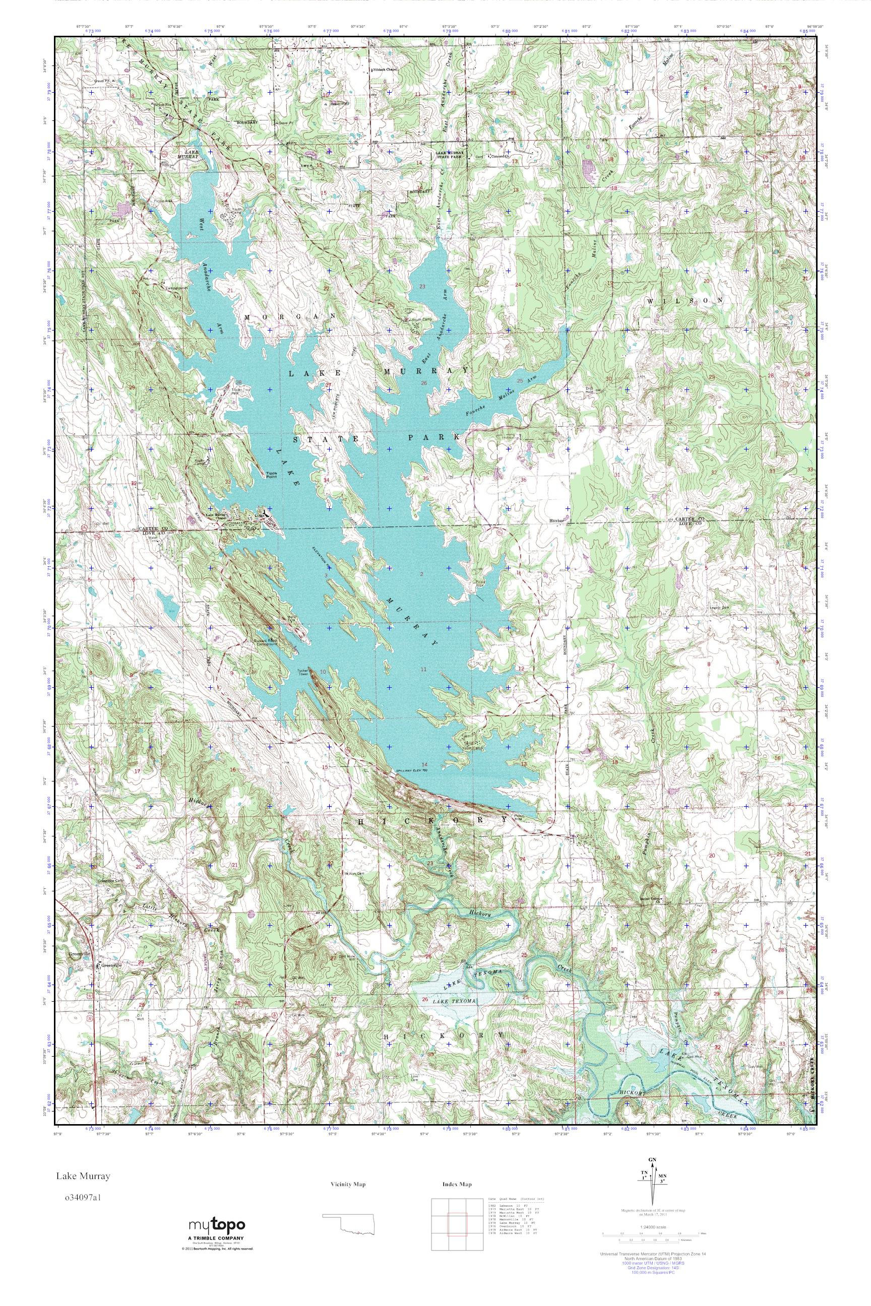 MyTopo Lake Murray, Oklahoma USGS Quad Topo Map
