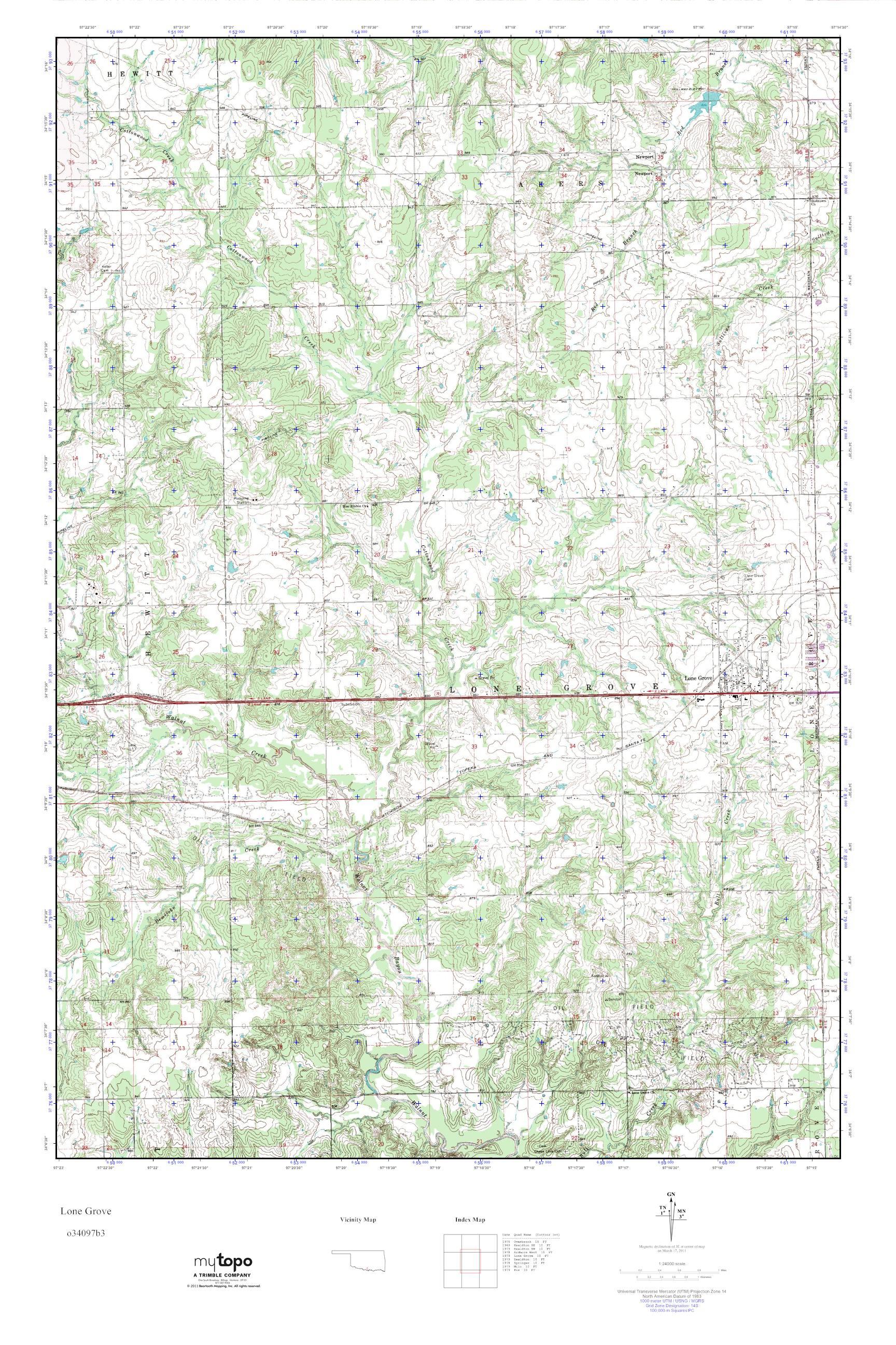Grove Oklahoma Map.Mytopo Lone Grove Oklahoma Usgs Quad Topo Map