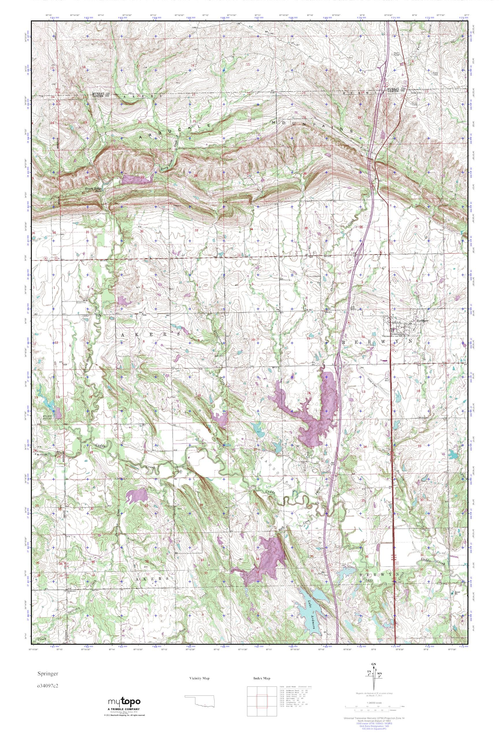 MyTopo Springer, Oklahoma USGS Quad Topo Map