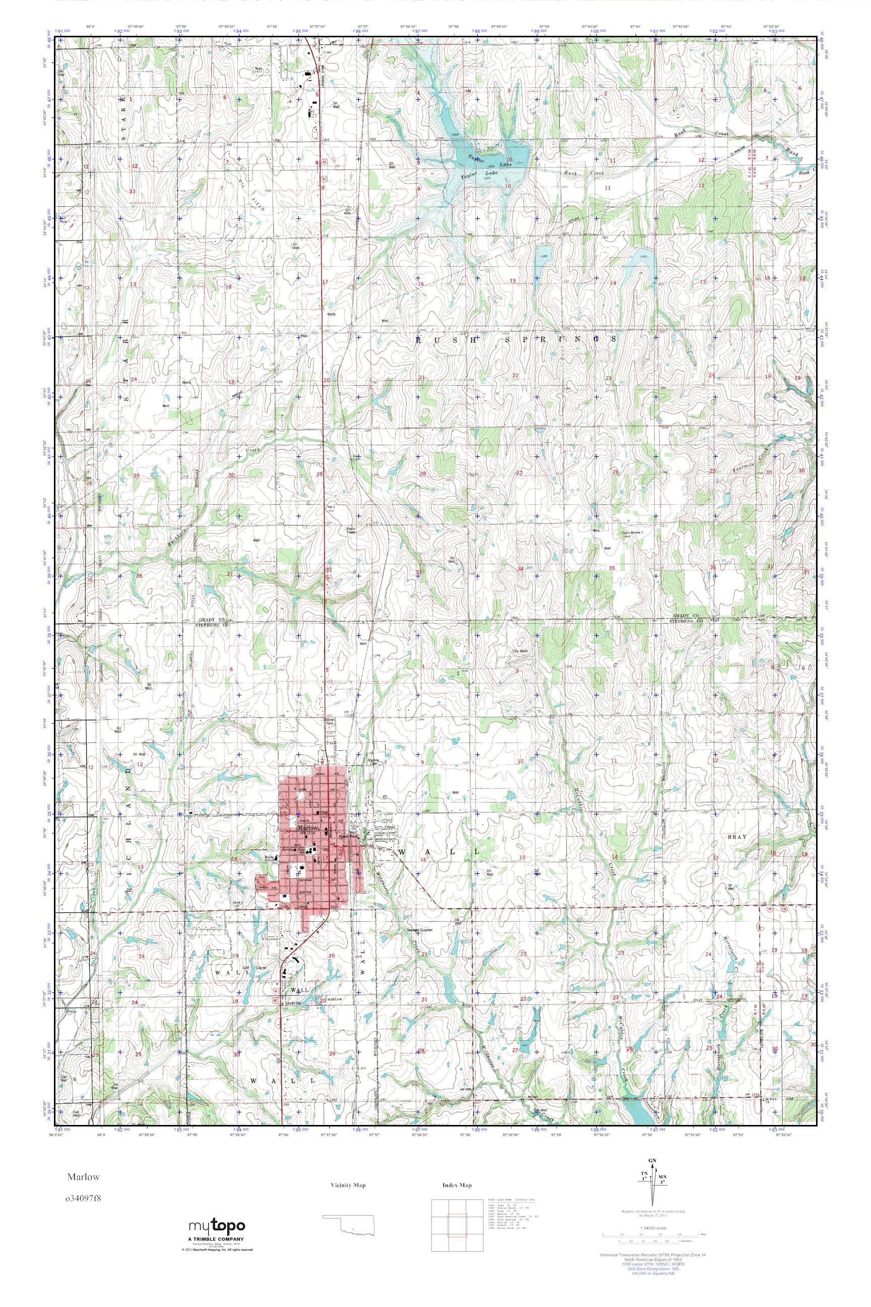 Mytopo Marlow Oklahoma Usgs Quad Topo Map