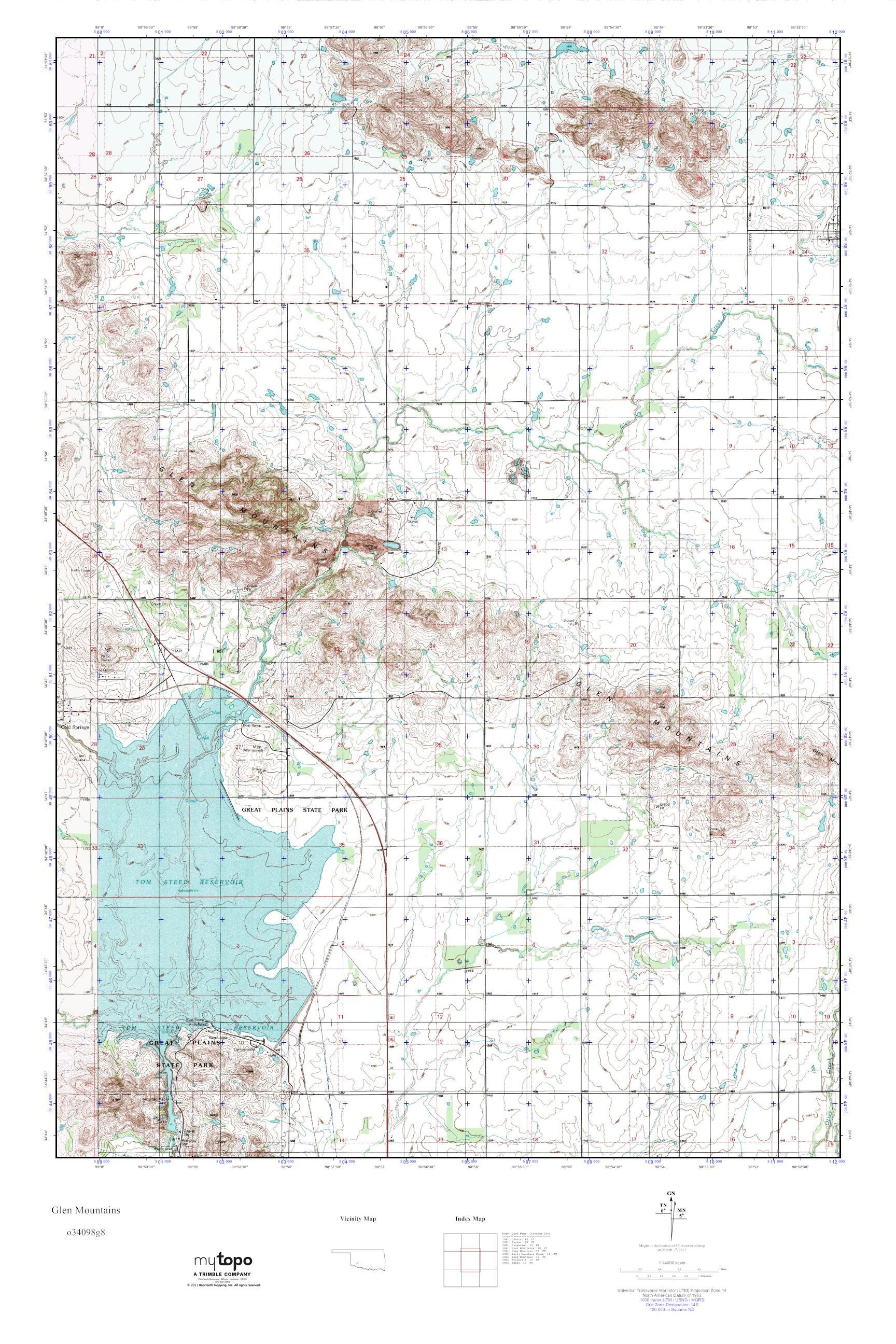 Mountains In Oklahoma Map.Mytopo Glen Mountains Oklahoma Usgs Quad Topo Map
