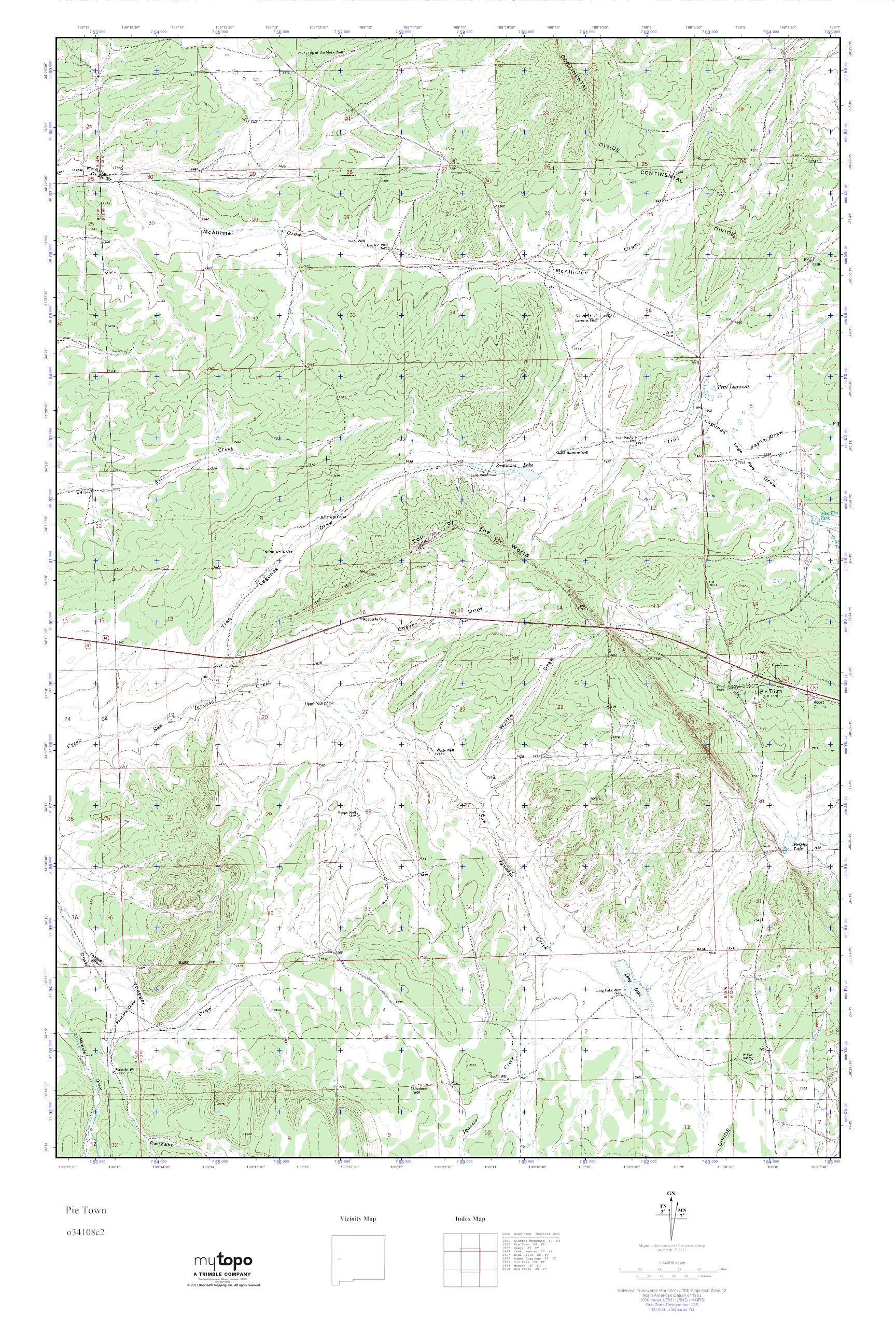 Mytopo Pie Town New Mexico Usgs Quad Topo Map