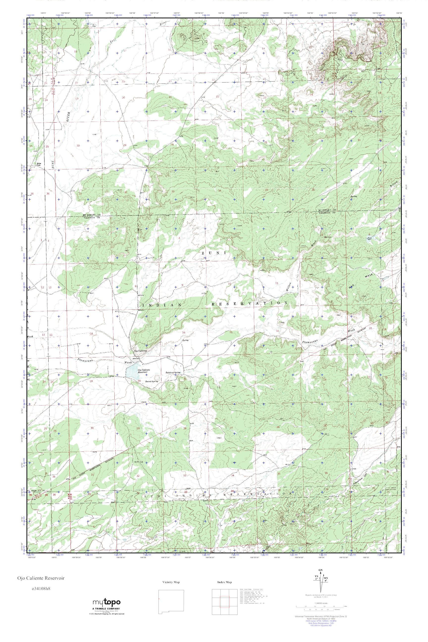Ojo Caliente New Mexico Map.Mytopo Ojo Caliente Reservoir New Mexico Usgs Quad Topo Map