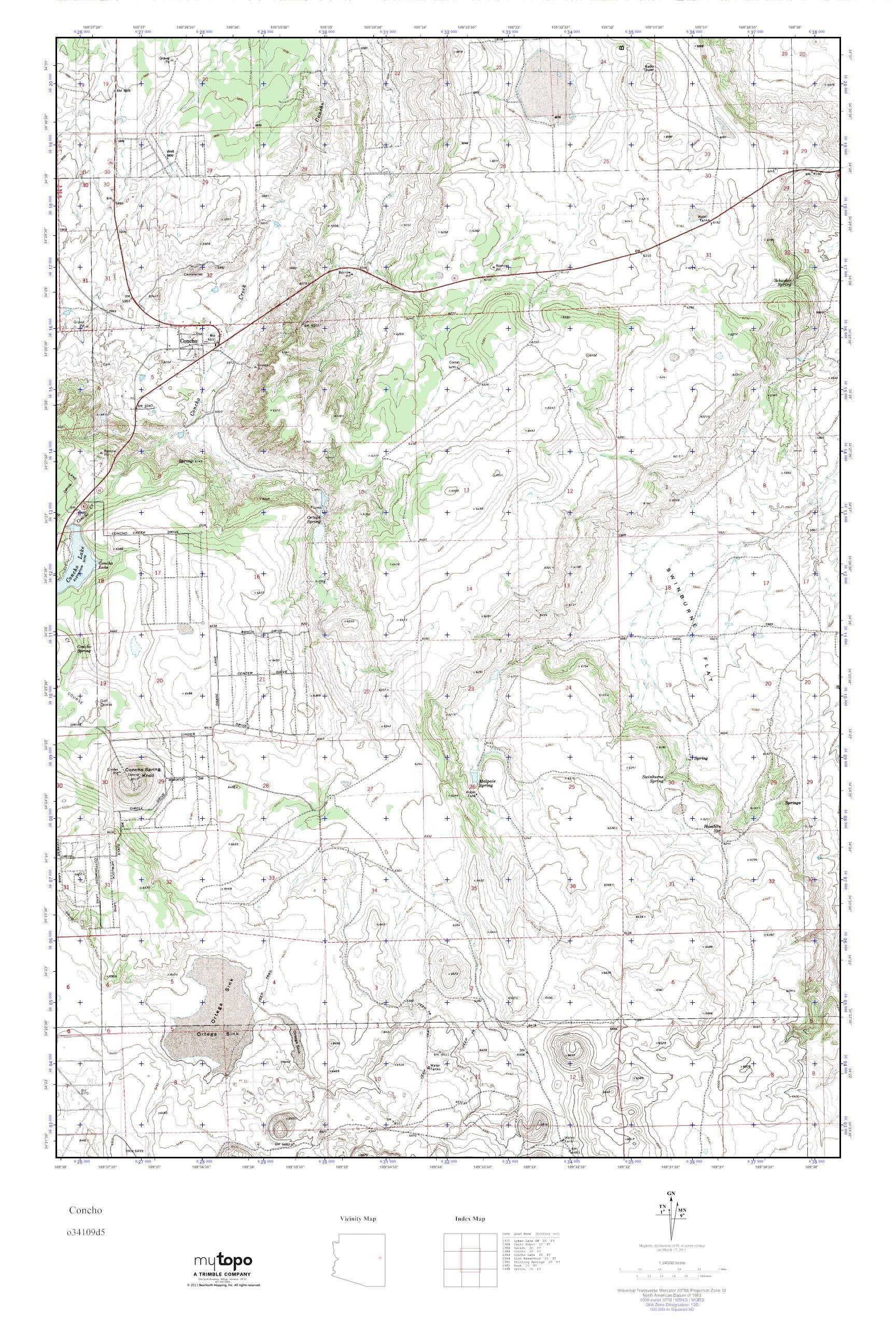 Concho Arizona Map.Mytopo Concho Arizona Usgs Quad Topo Map