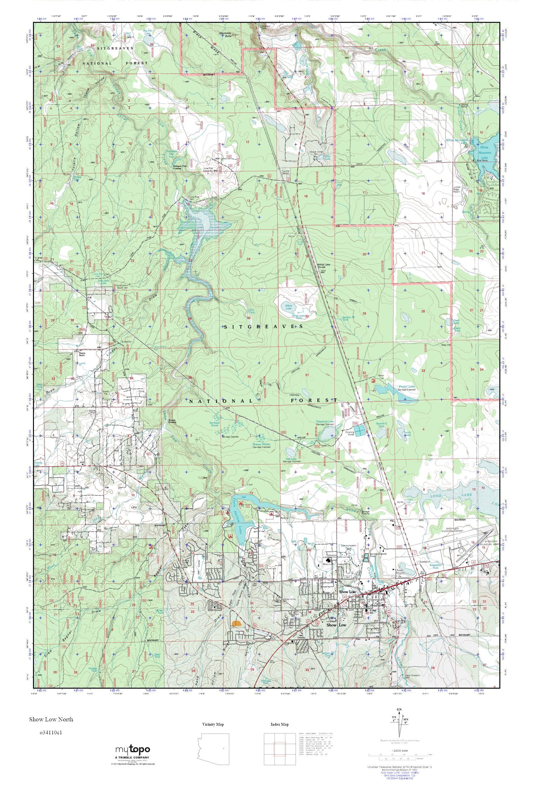 North Arizona Map.Mytopo Show Low North Arizona Usgs Quad Topo Map