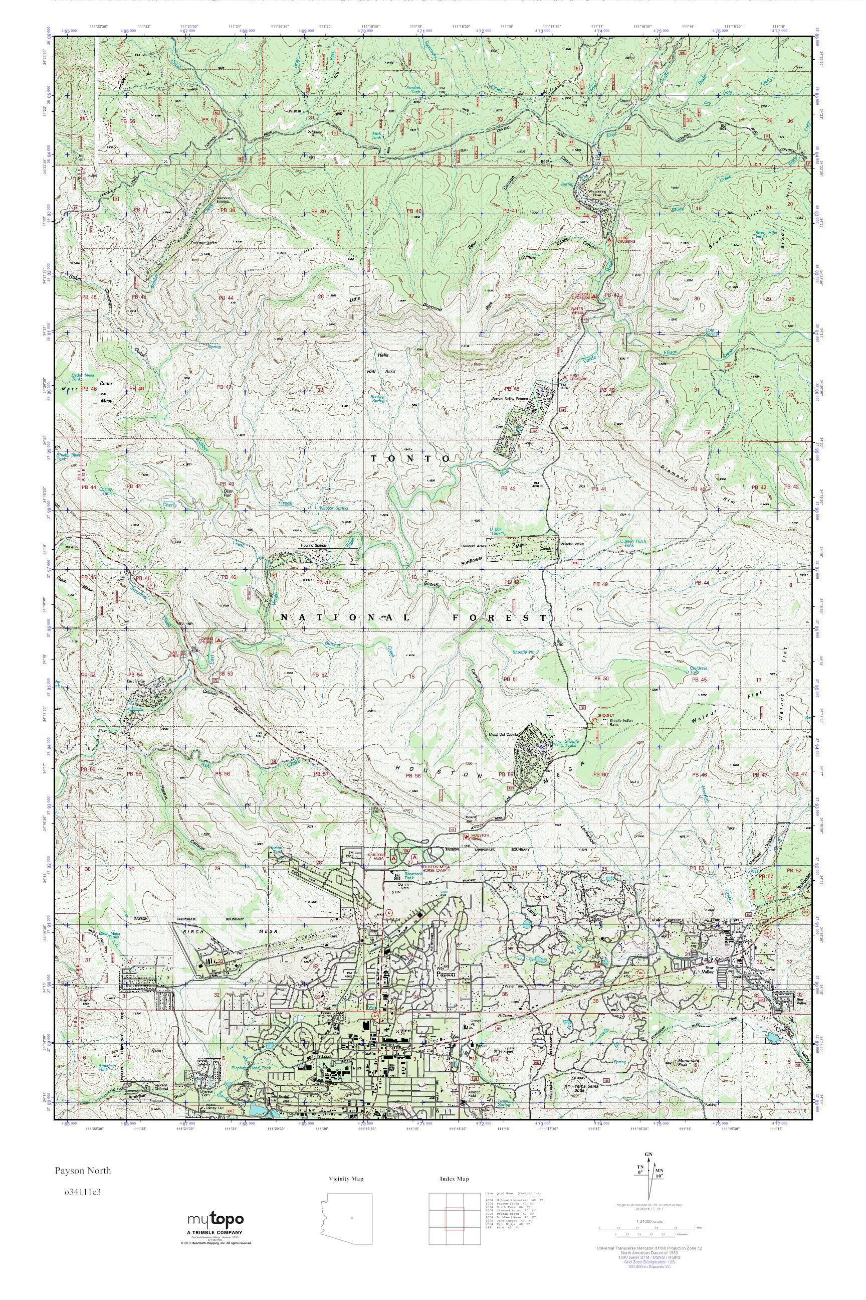 North Arizona Map.Mytopo Payson North Arizona Usgs Quad Topo Map