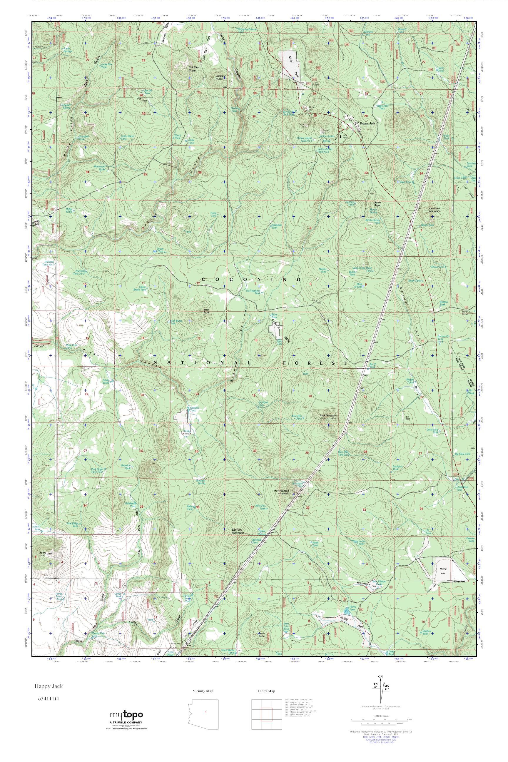 Happy Jack Arizona Map.Mytopo Happy Jack Arizona Usgs Quad Topo Map