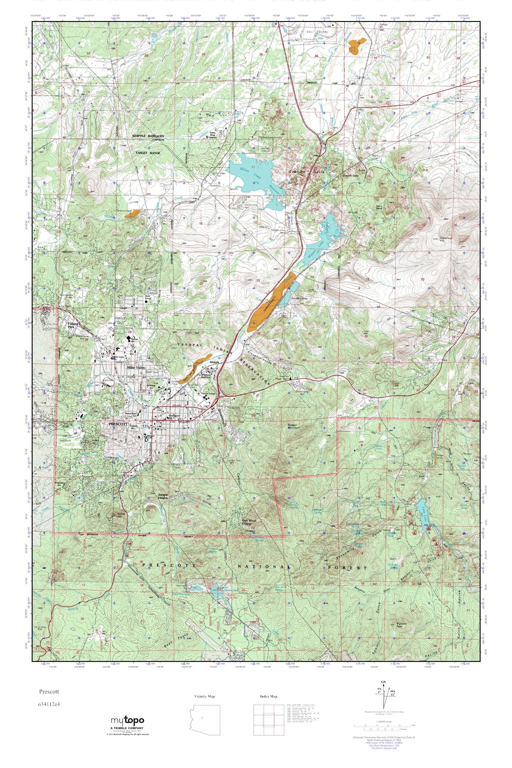 Mytopo Prescott Arizona Usgs Quad Topo Map