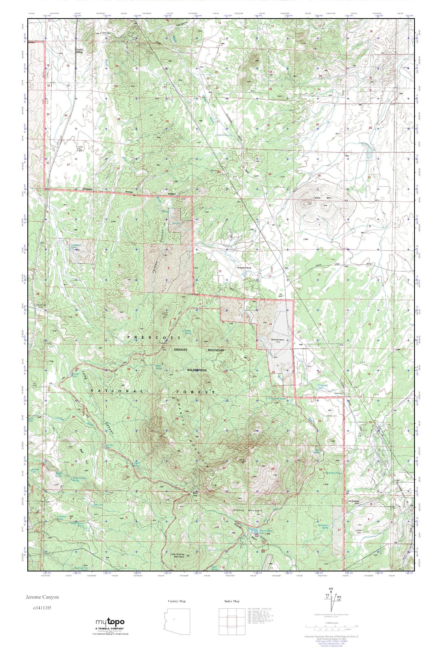 Map Of Arizona Including Jerome.Mytopo Jerome Canyon Arizona Usgs Quad Topo Map