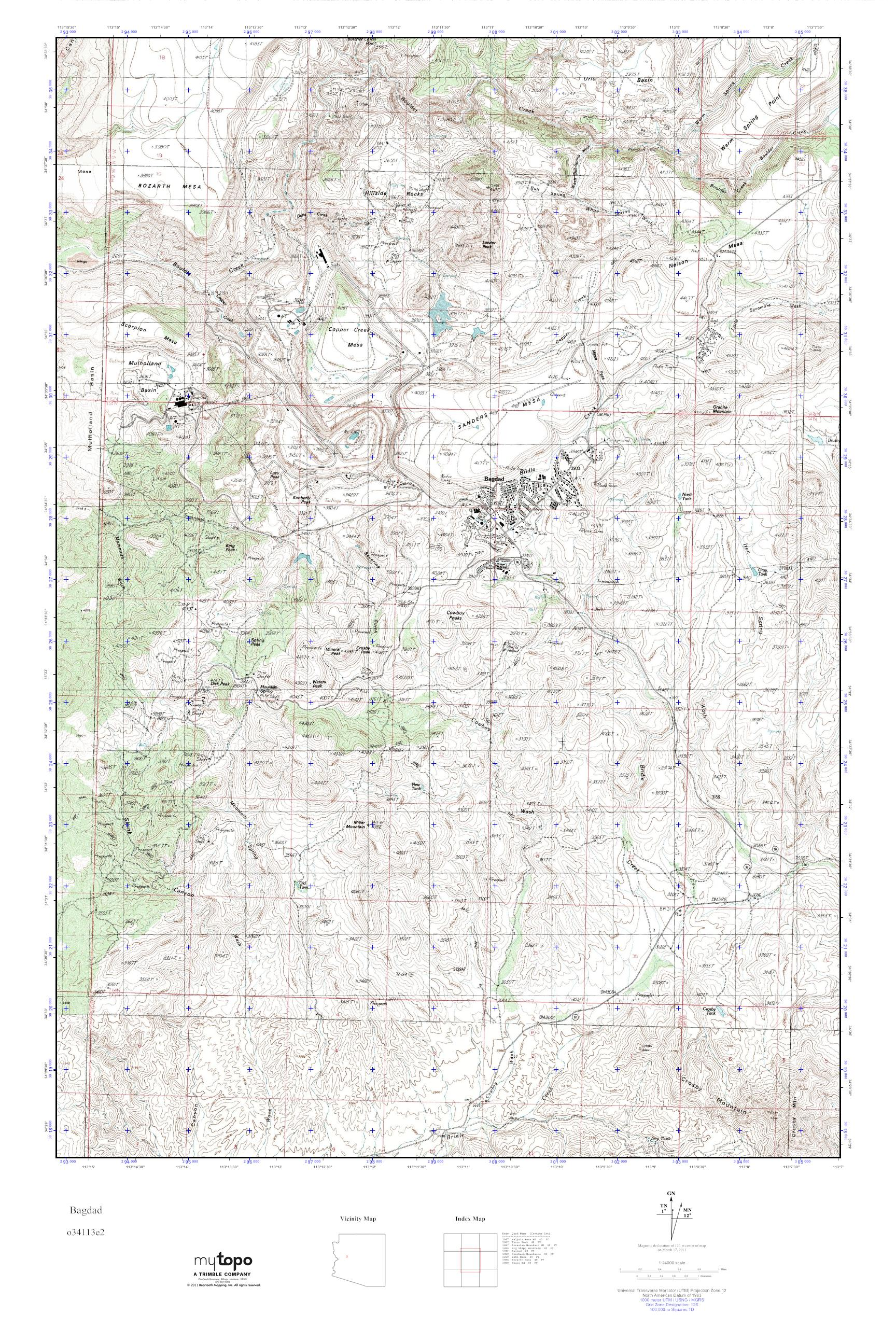 mytopo bagdad arizona usgs quad topo map