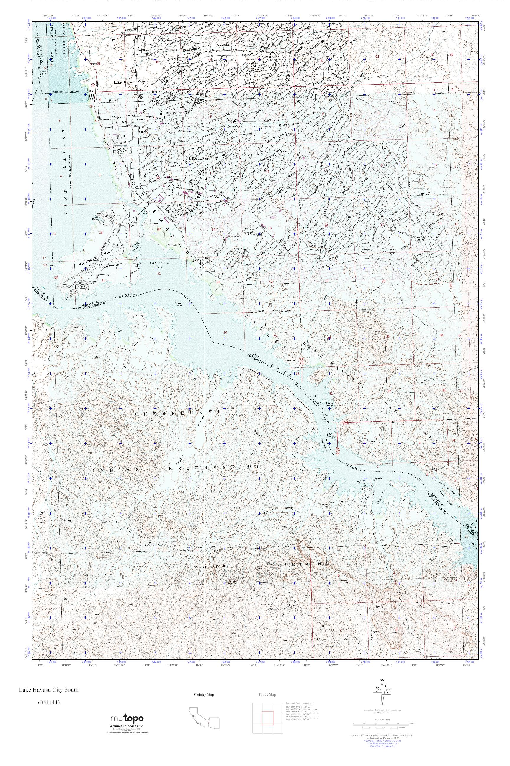 MyTopo Lake Havasu City South California USGS Quad Topo Map