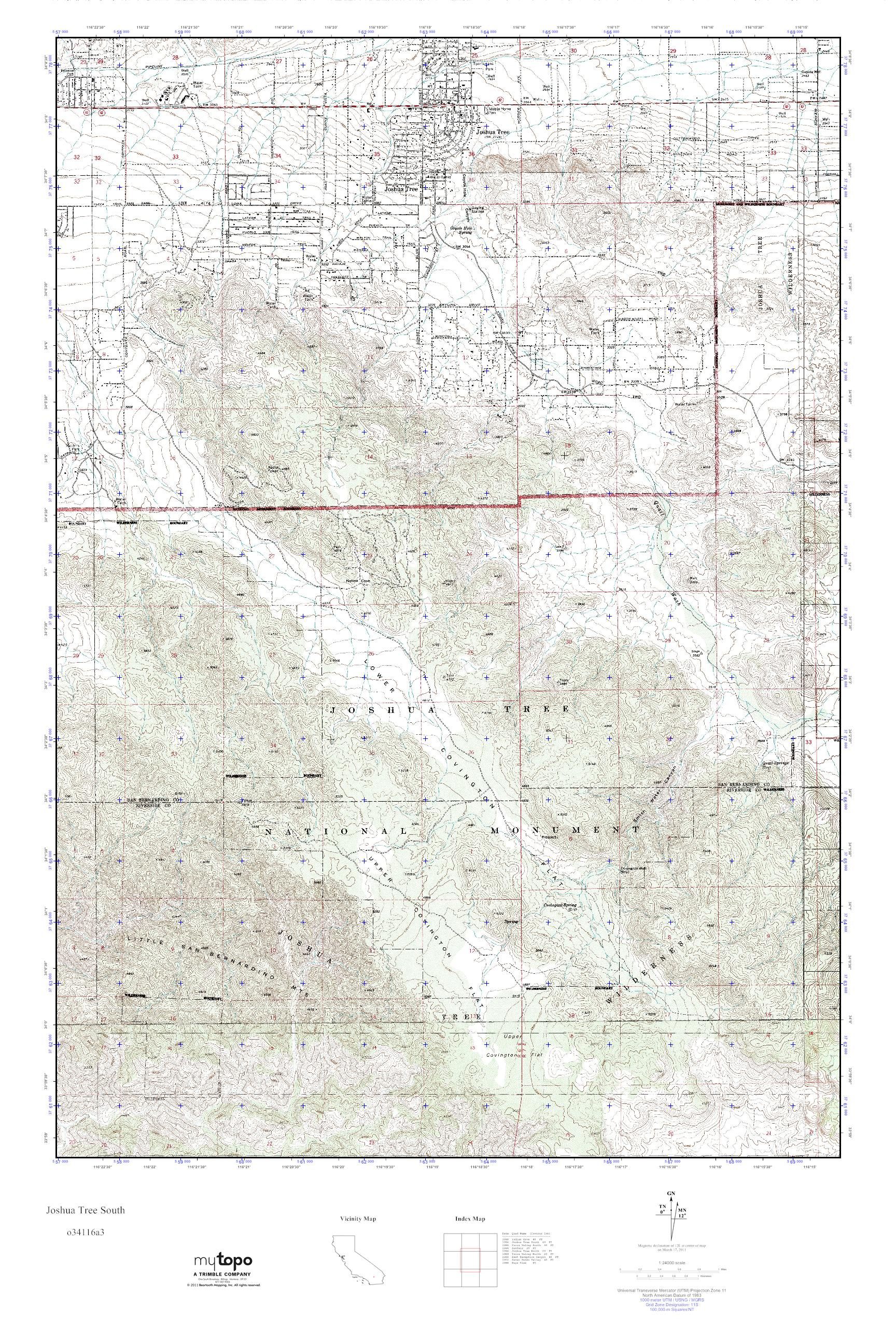 Joshua Tree Topographic Map.Mytopo Joshua Tree South California Usgs Quad Topo Map