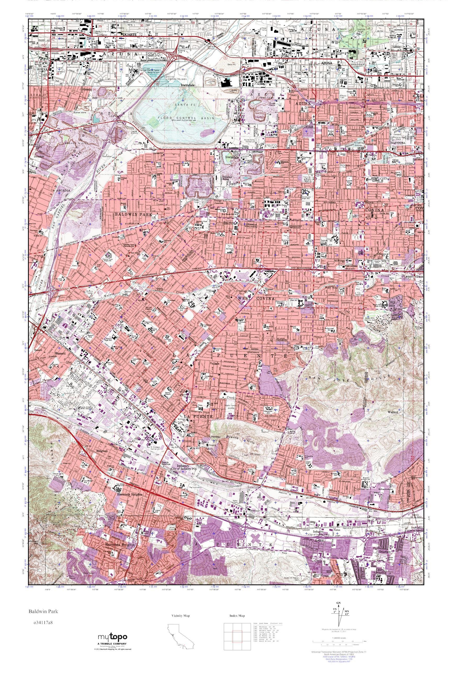 MyTopo Baldwin Park, California USGS Quad Topo Map