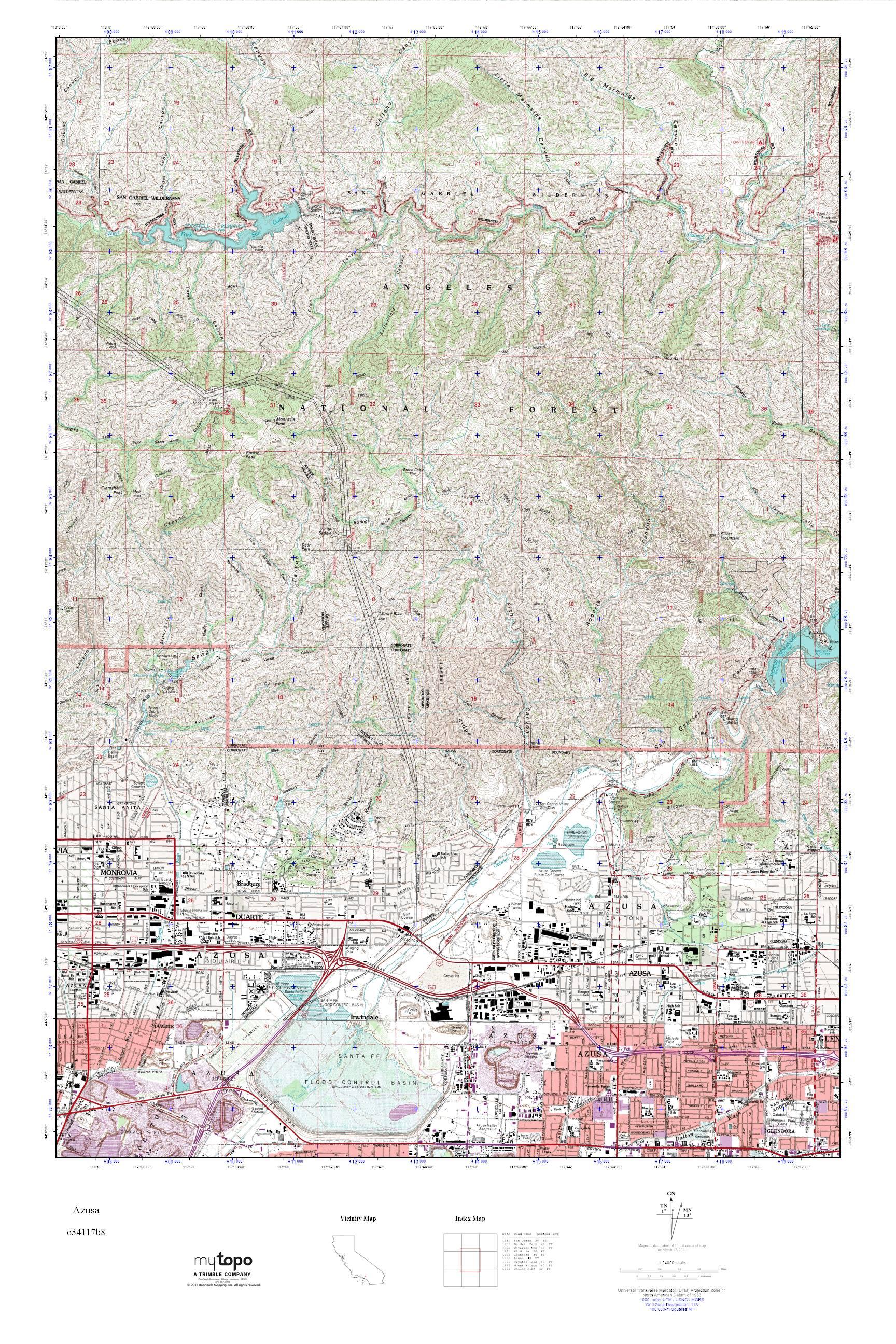 MyTopo Azusa, California USGS Quad Topo Map on