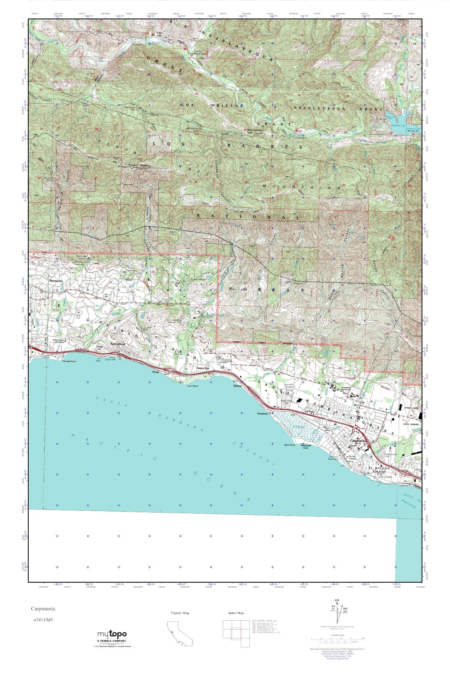Mytopo Carpinteria California Usgs Quad Topo Map