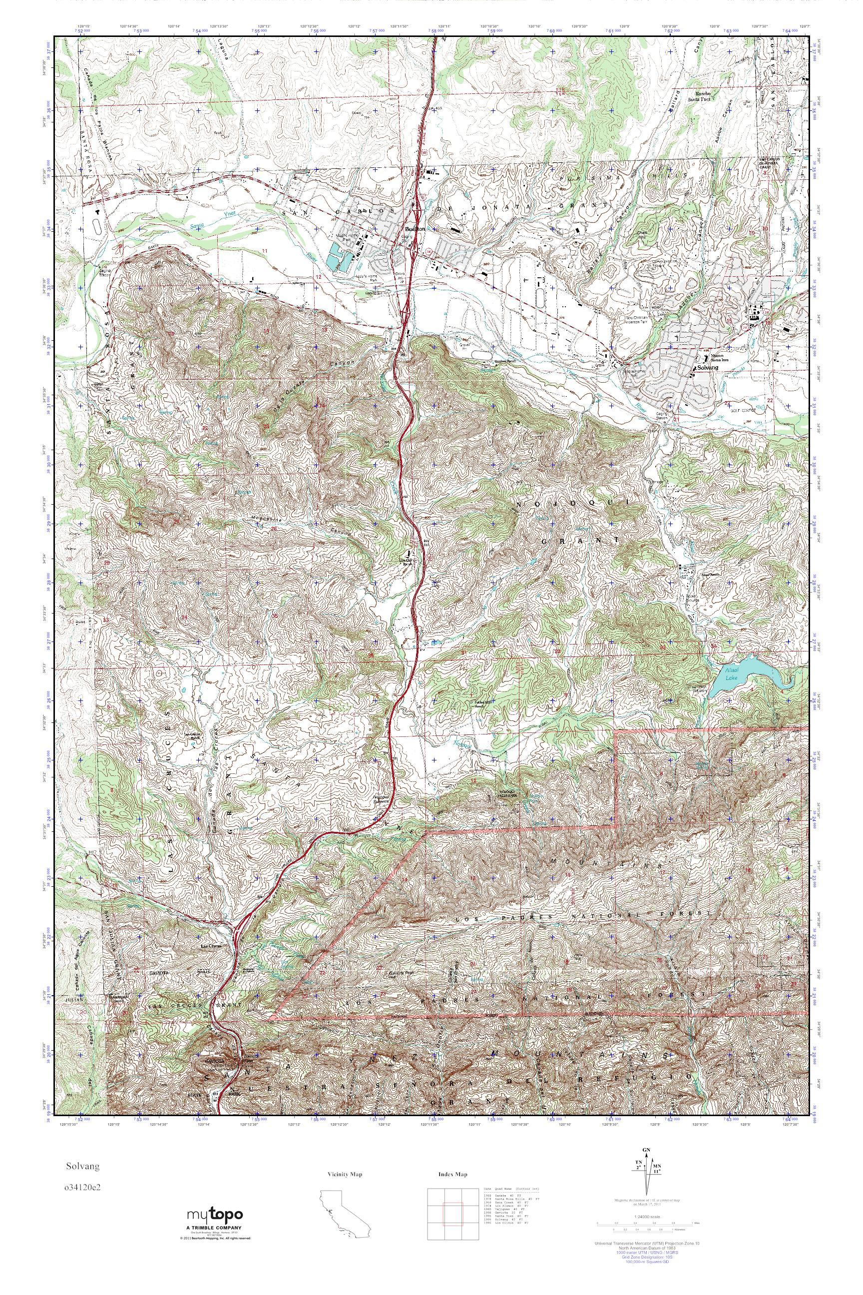 Mytopo Solvang California Usgs Quad Topo Map