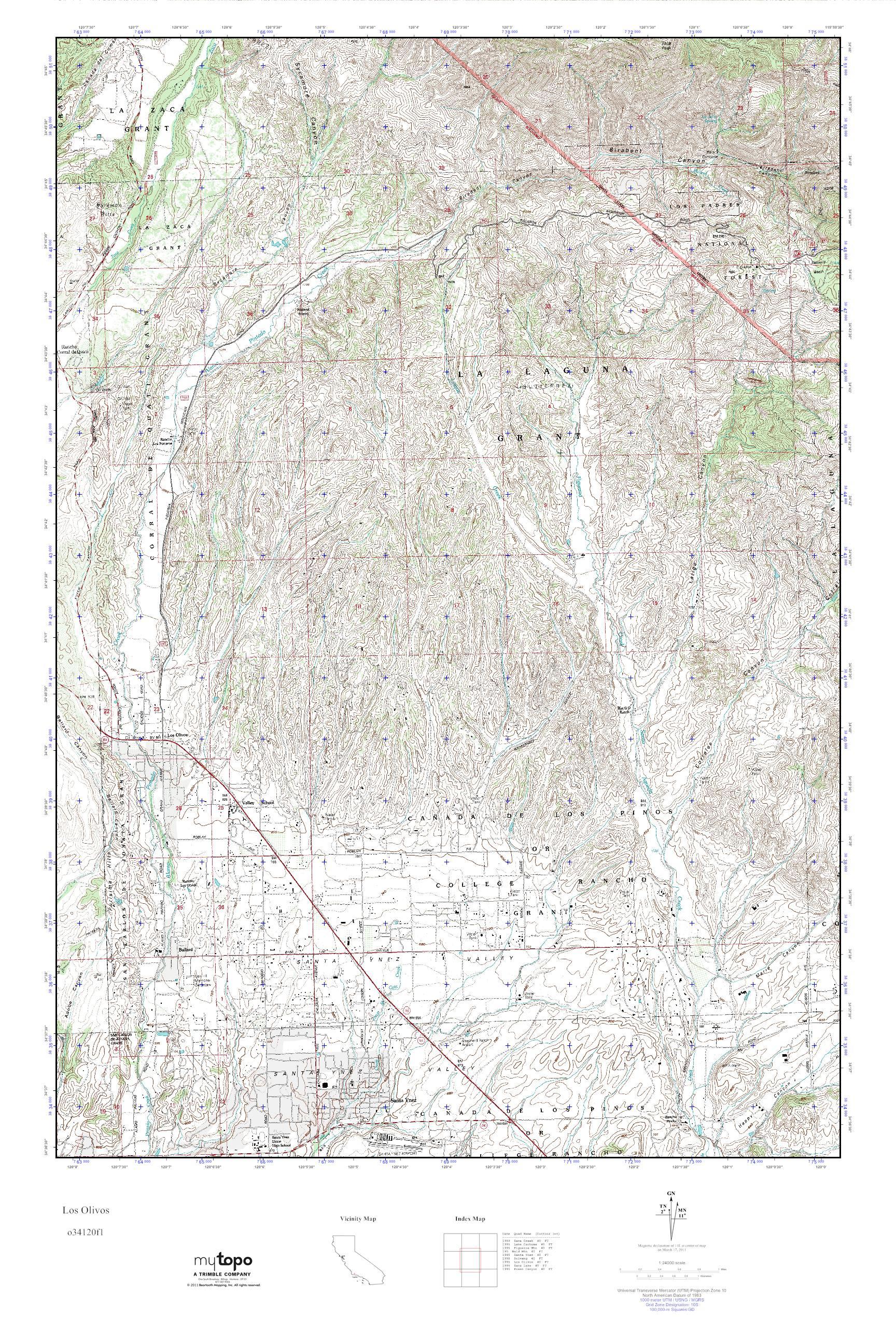 MyTopo Los Olivos, California USGS Quad Topo Map on