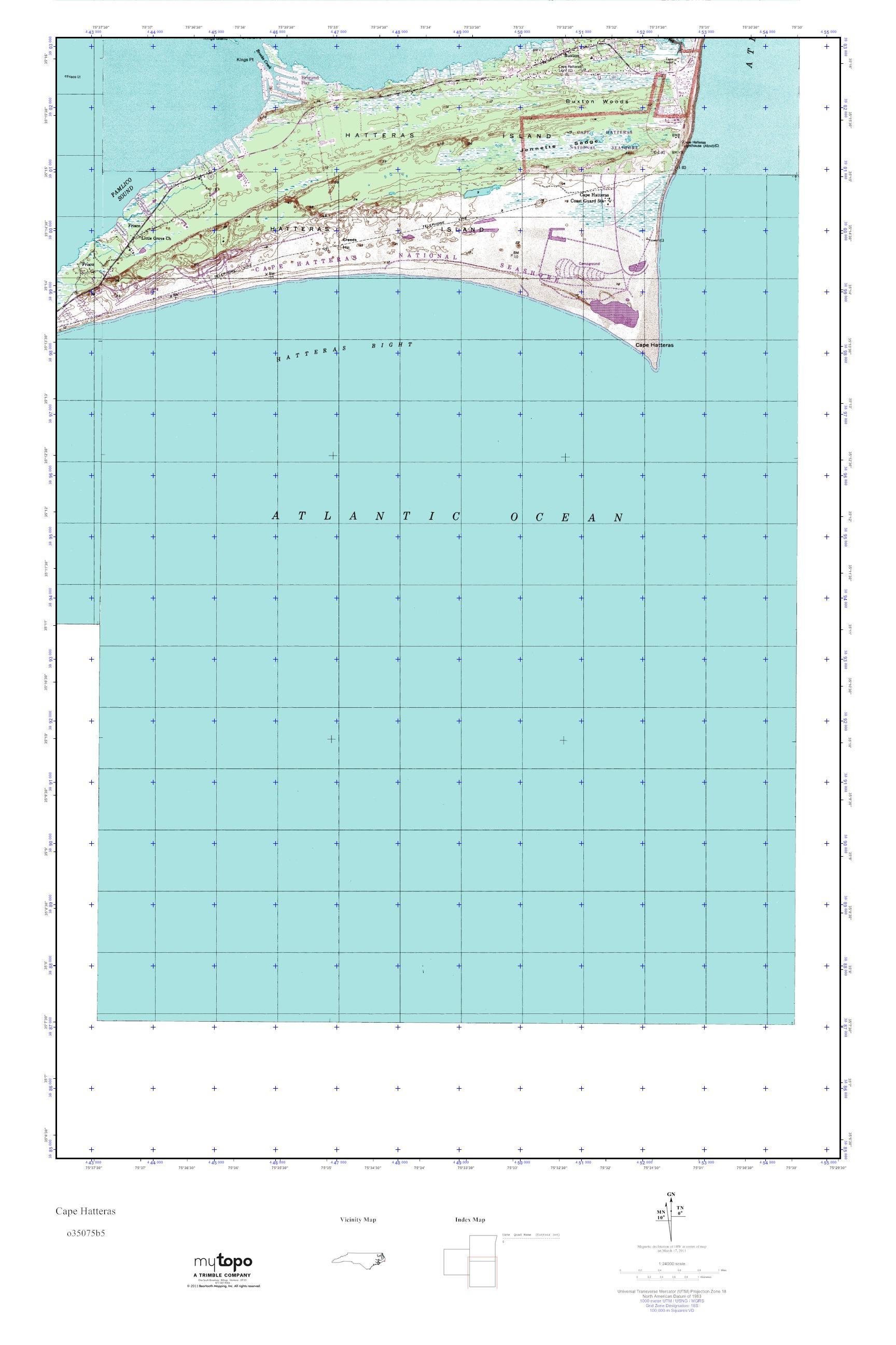 Mytopo Cape Hatteras North Carolina Usgs Quad Topo Map