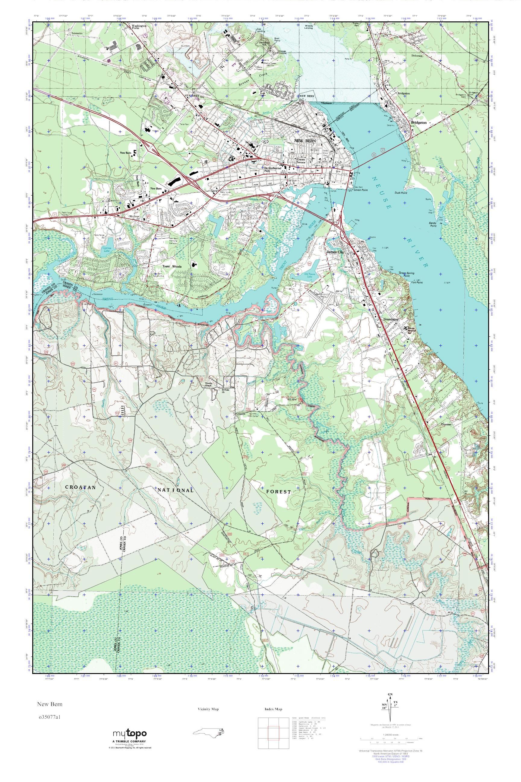 Mytopo New Bern North Carolina Usgs Quad Topo Map