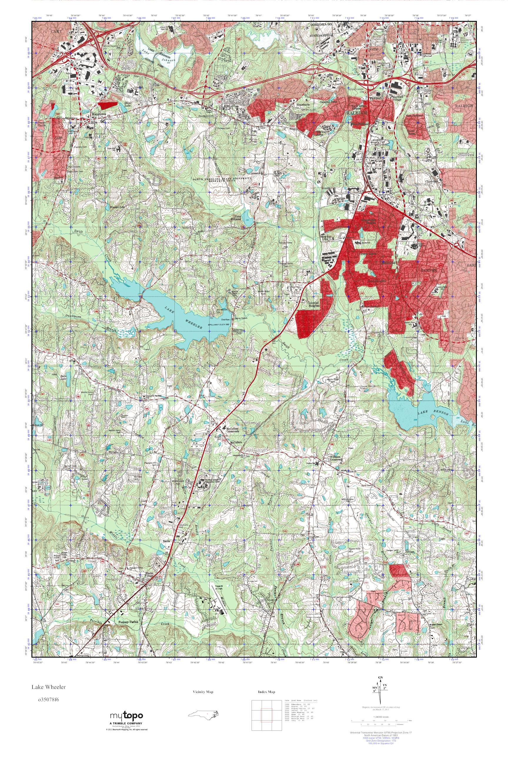 Mytopo Lake Wheeler North Carolina Usgs Quad Topo Map