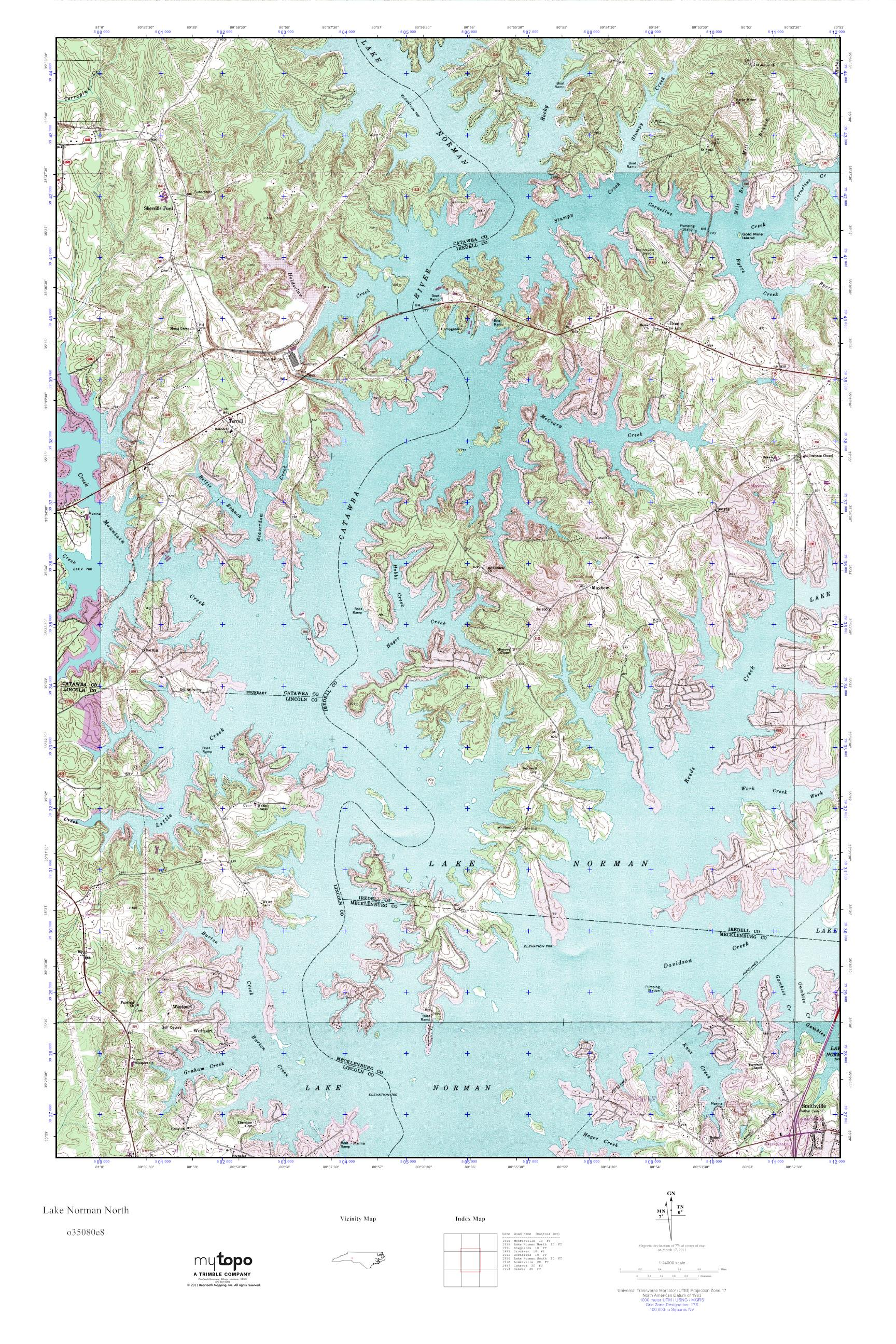 MyTopo Lake Norman North North Carolina USGS Quad Topo Map