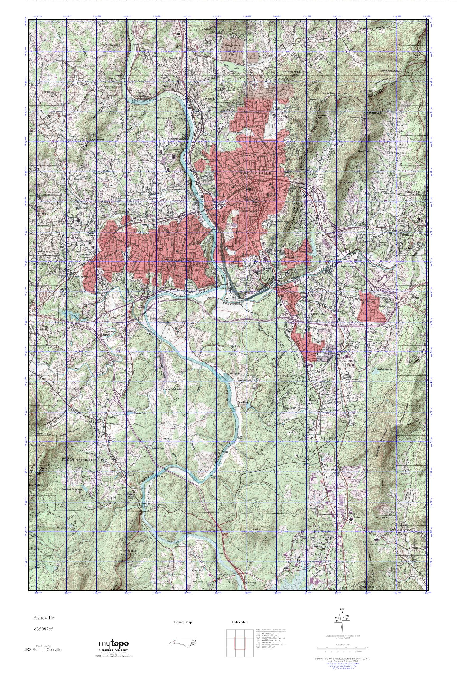 MyTopo Asheville North Carolina USGS Quad Topo Map