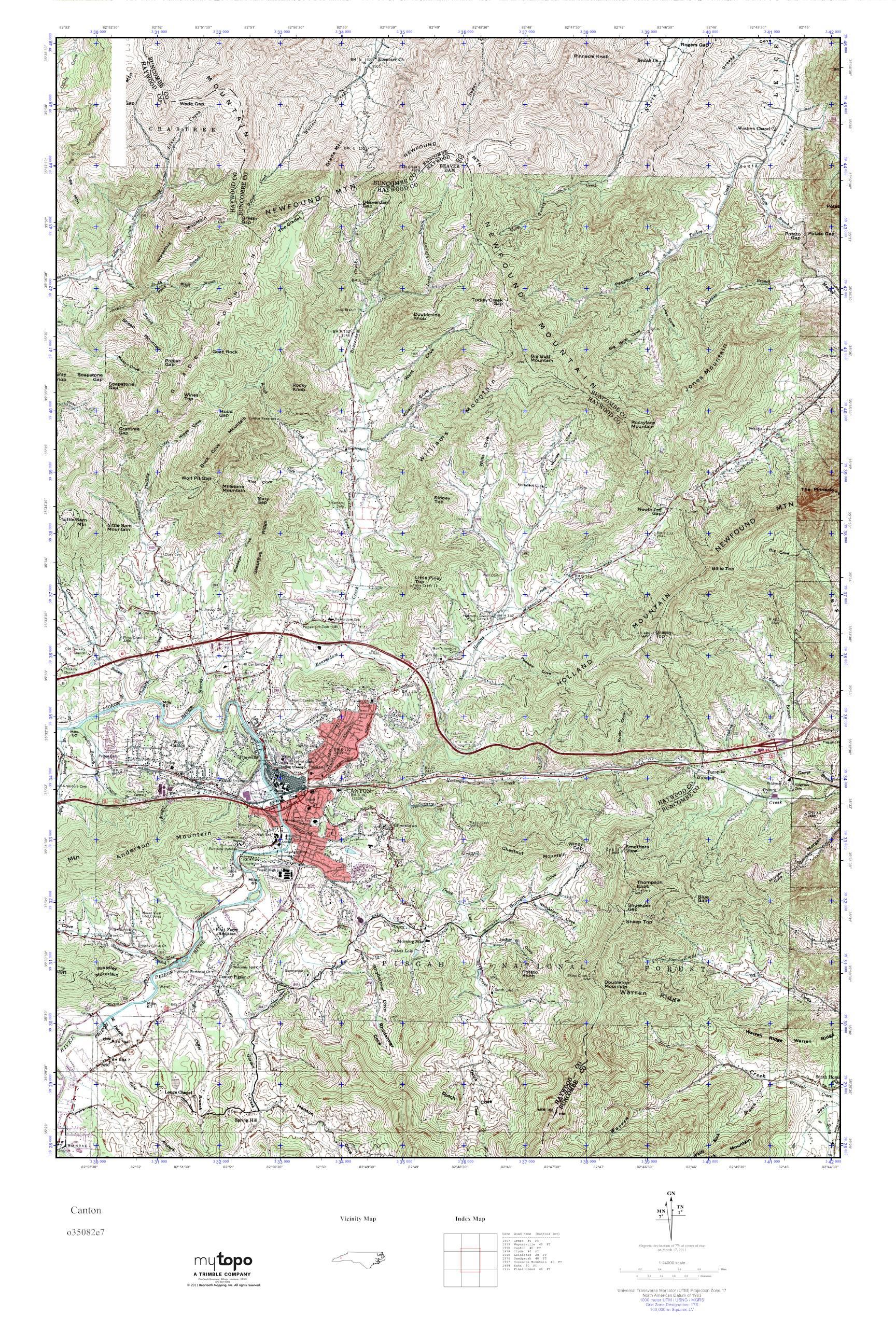 Mytopo Canton North Carolina Usgs Quad Topo Map